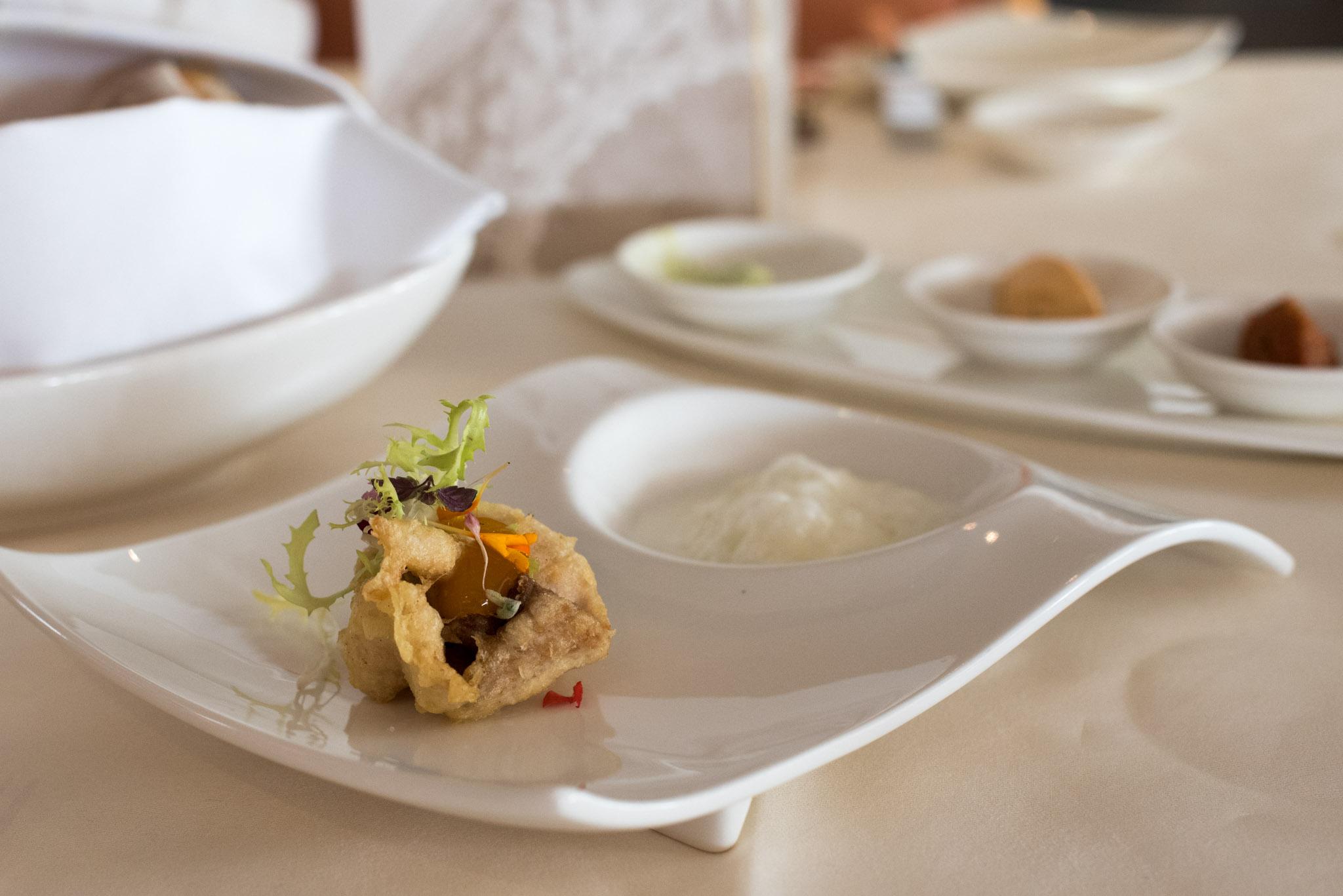 Amuse Bouche - Smoked Amberjack Roulade, Burrata Emulsion, Citrus  Dolce Vita - Mandarin Oriental, SIngapore
