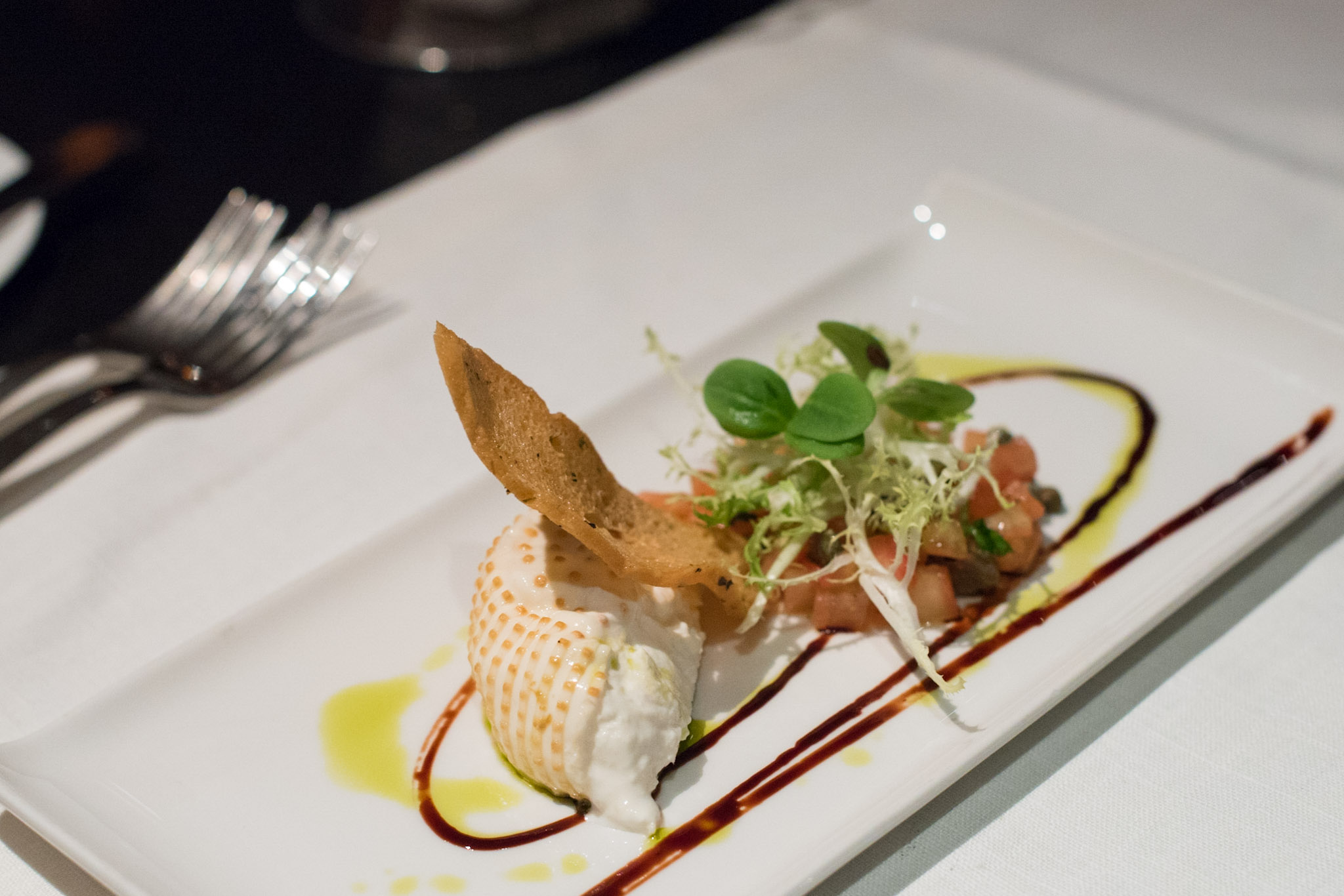 San Marzano Tomato Tartare, Smoked Burrata, Oregano Crostini and Frisée Salad with Basil Dressing (S$24++)  Basilico - Regent Singapore