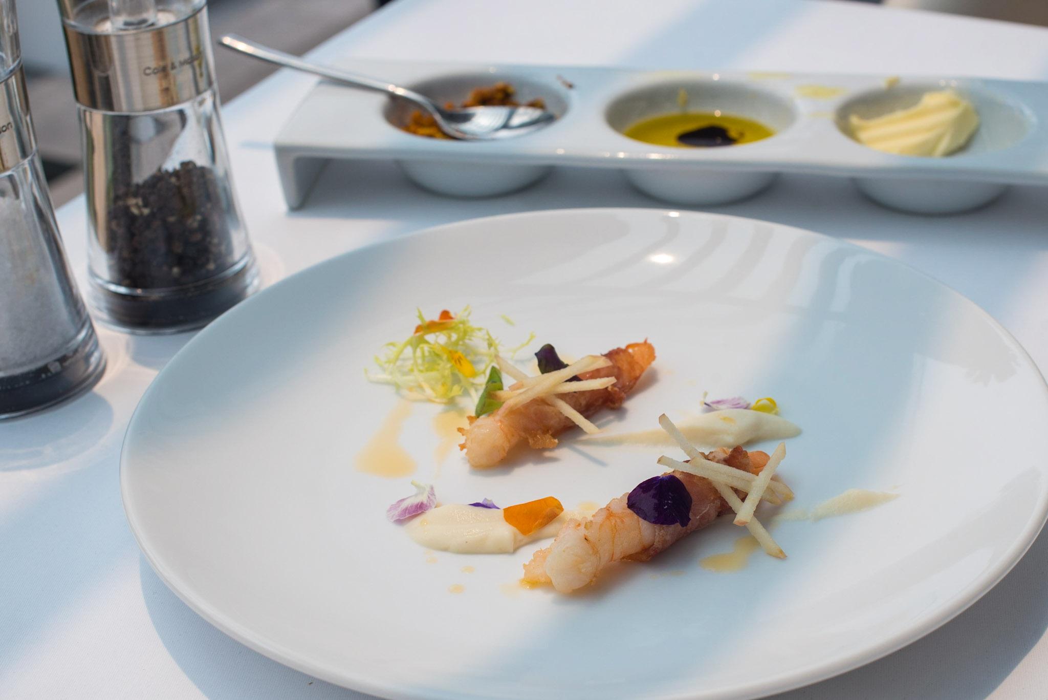 Deep Fried Prawn,Parma Ham, Celeriac, Apple  Pool Grill - Singapore Marriott Tang Plaza Hotel