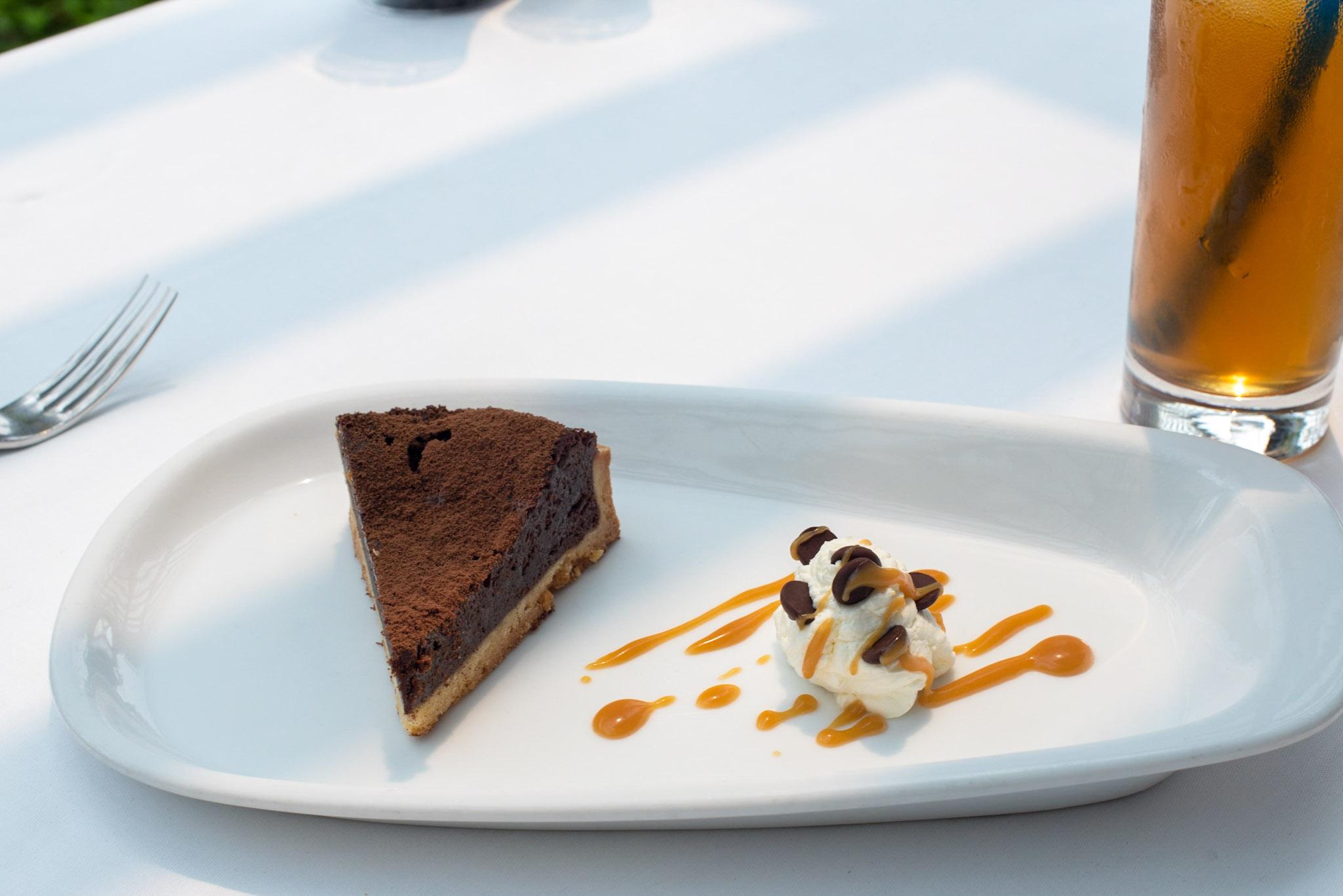 Chocolate Antilles Tart, Salted Caramel Sauce  Pool Grill - Singapore Marriott Tang Plaza Hotel