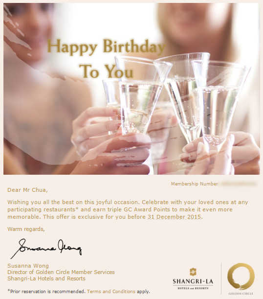 Birthday Offer from Shangri-La Hotels and Resorts