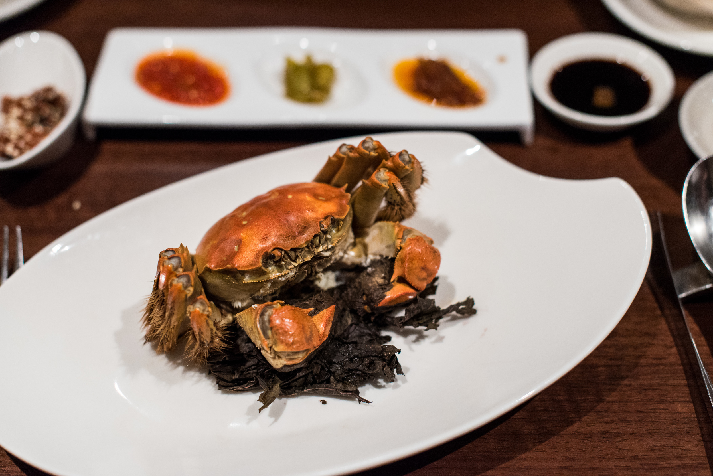 Steamed Whole Hairy Crab with Perilla Leaves  Hai Tien Lo - Pan Pacific Singapore