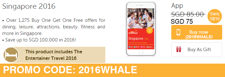 2016 Entertainer Promo Code: 2016WHALE (Save S$10!)