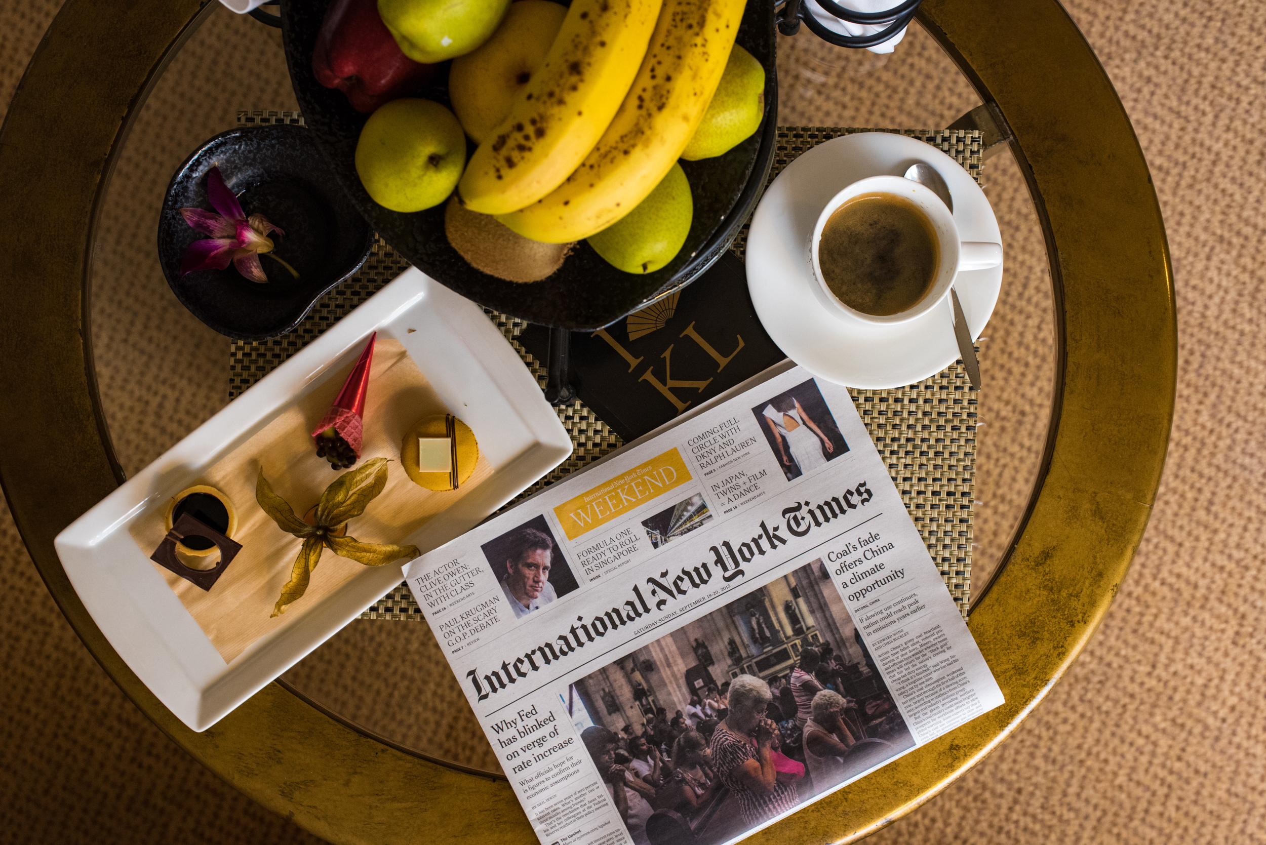 Newspapers and Welcome Amenities -Club Deluxe City View Room    Mandarin Oriental, Kuala Lumpur