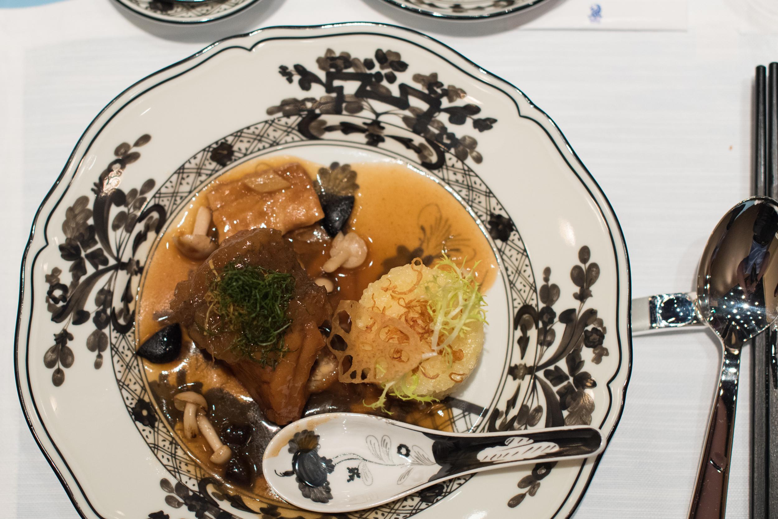 Braised Estuary Grouper, Dried Beancurd Skin, Mushroom, Organic Black Garlic, Steamed Glutinous Rice, Spring Onion    Summer Pavilion - The Ritz-Carlton, Millenia Singapore
