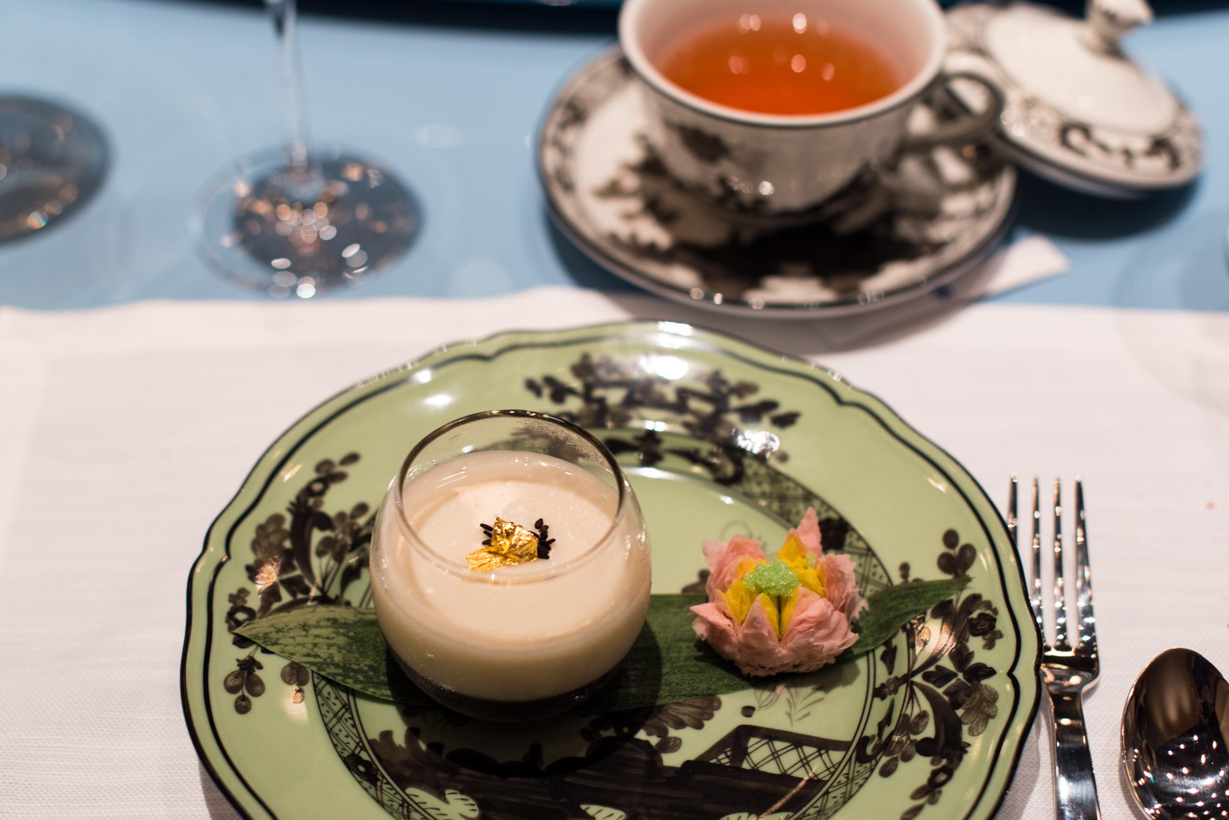 Sweetened Almond Tea, Black Sesame Crispy Red Bean and Green Tea Puff    Summer Pavilion - The Ritz-Carlton, Millenia Singapore