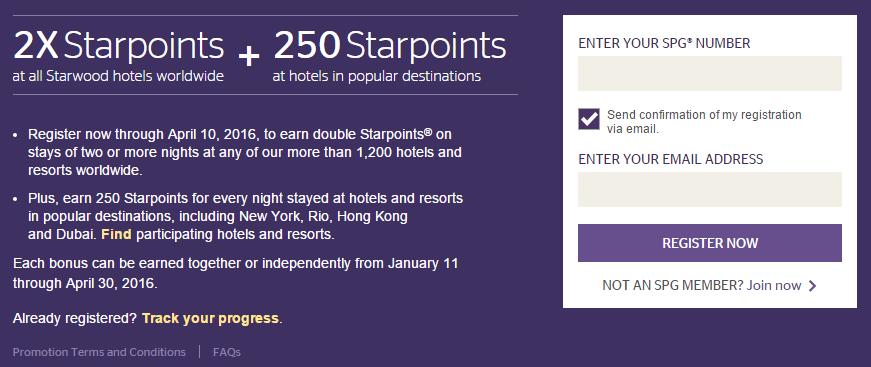 2X Starpoints and up to 10,000 Bonus Starpoints