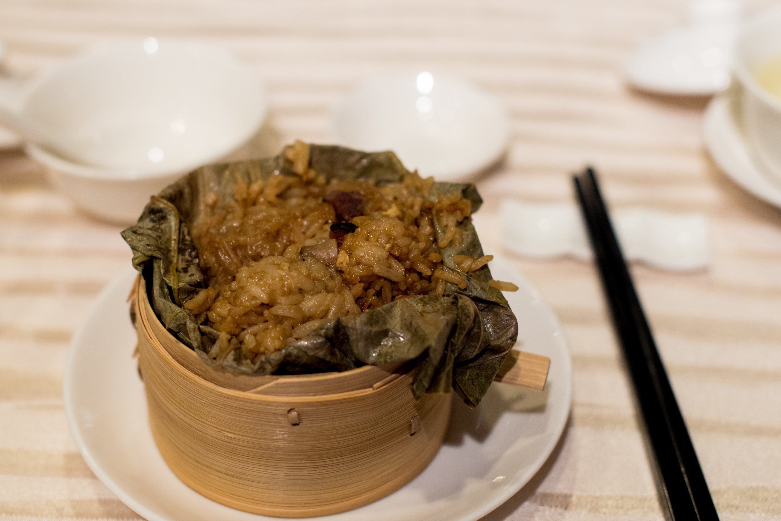Fragrant Glutinous Rice, Preserved Meat, Diced Taro in Lotus Leaf     Wan Hao - Singapore Marriott Tang Plaza Hotel