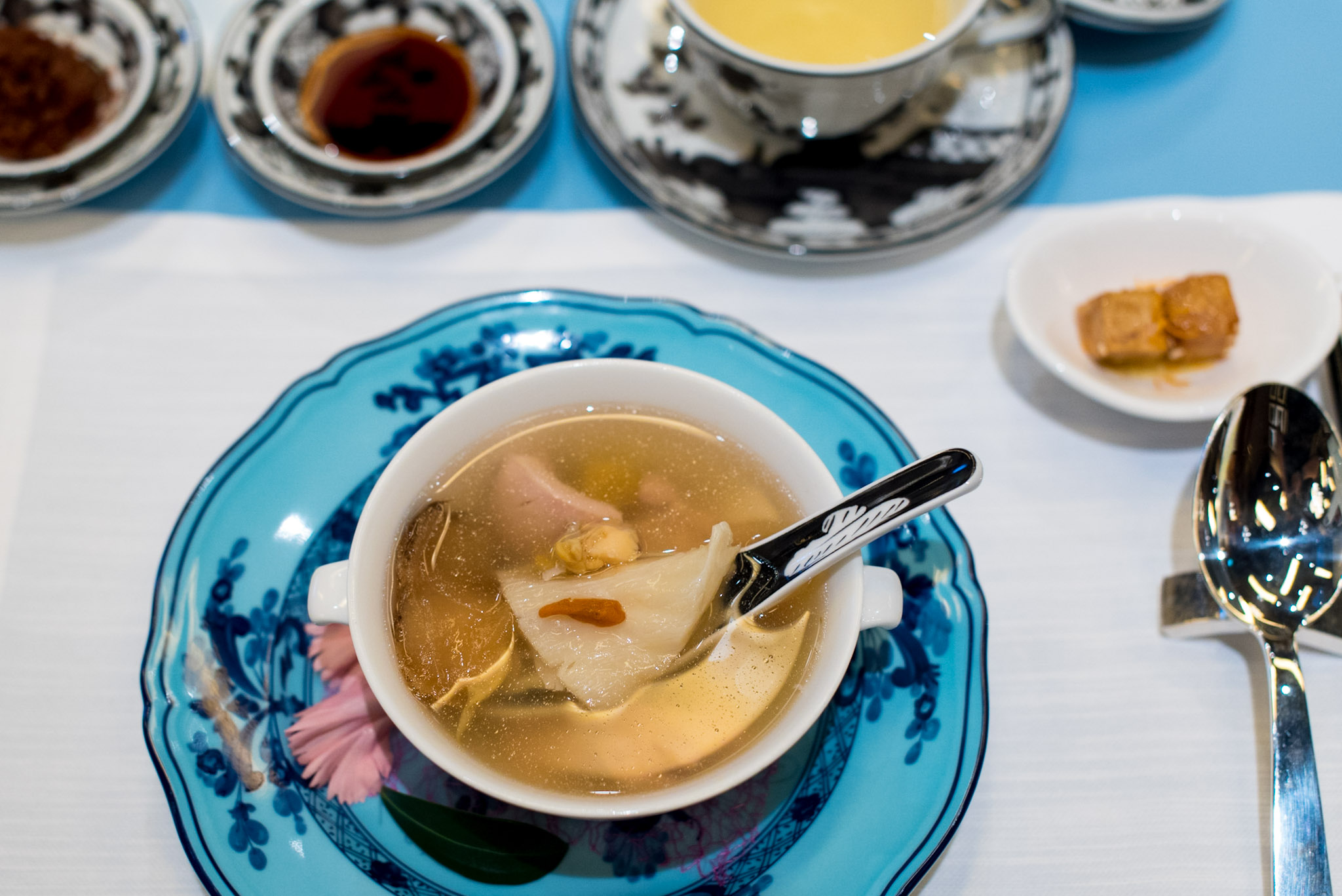 Double-boiled Chicken Soup, Sea Whelk, Fish Maw and Hericium  Summer Pavilion - The Ritz-Carlton, Millenia Singapore