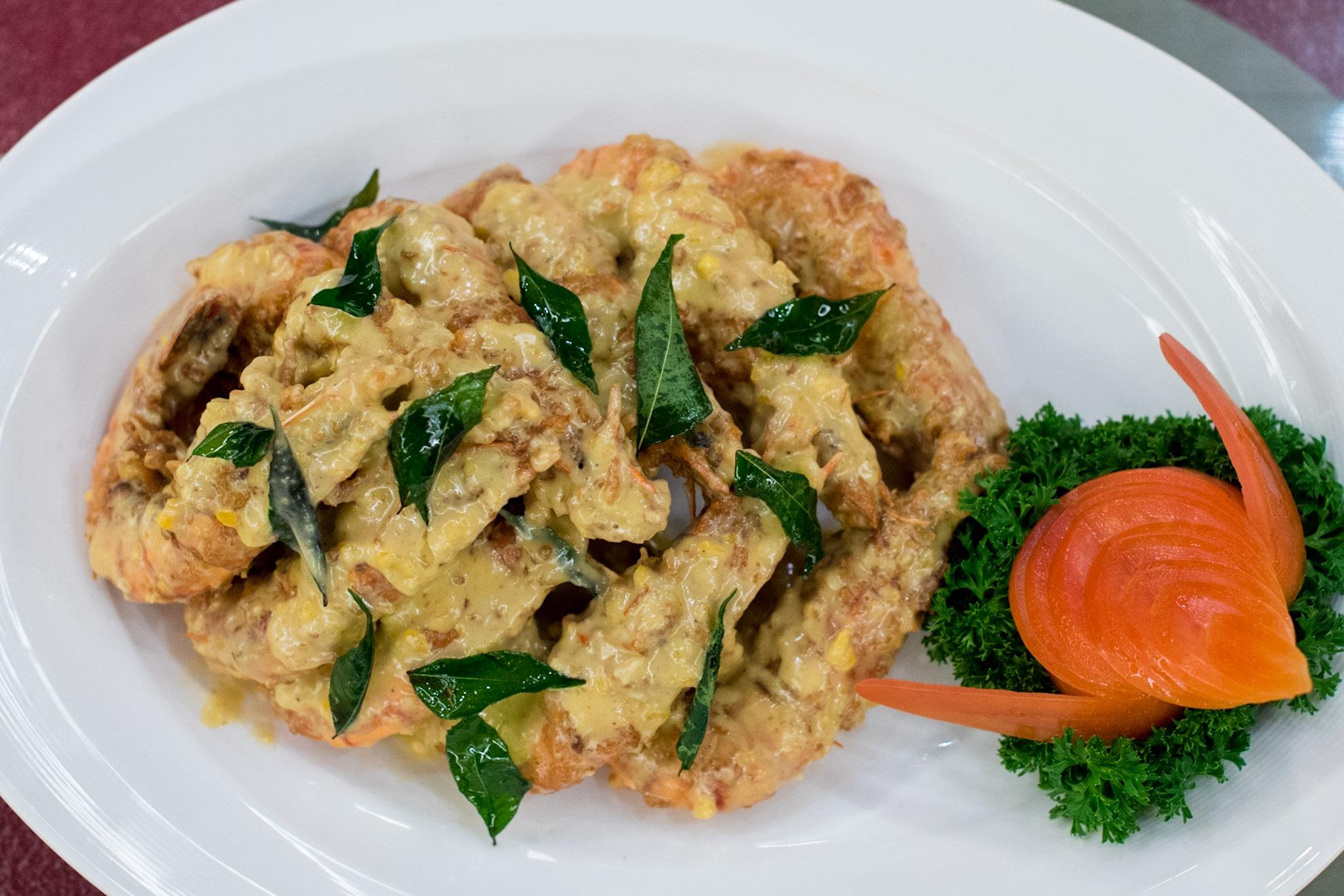 Stir-fried Jumbo Tiger Prawn in Salted Egg Yolk Sauce  Park Hotel Clarke Quay