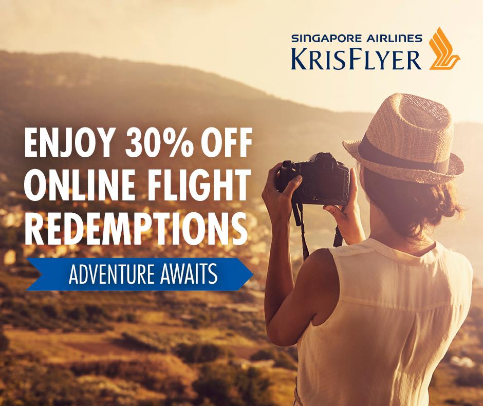 30% off KrisFlyer Flight Redemptions  Photo Credit: Singapore Airlines