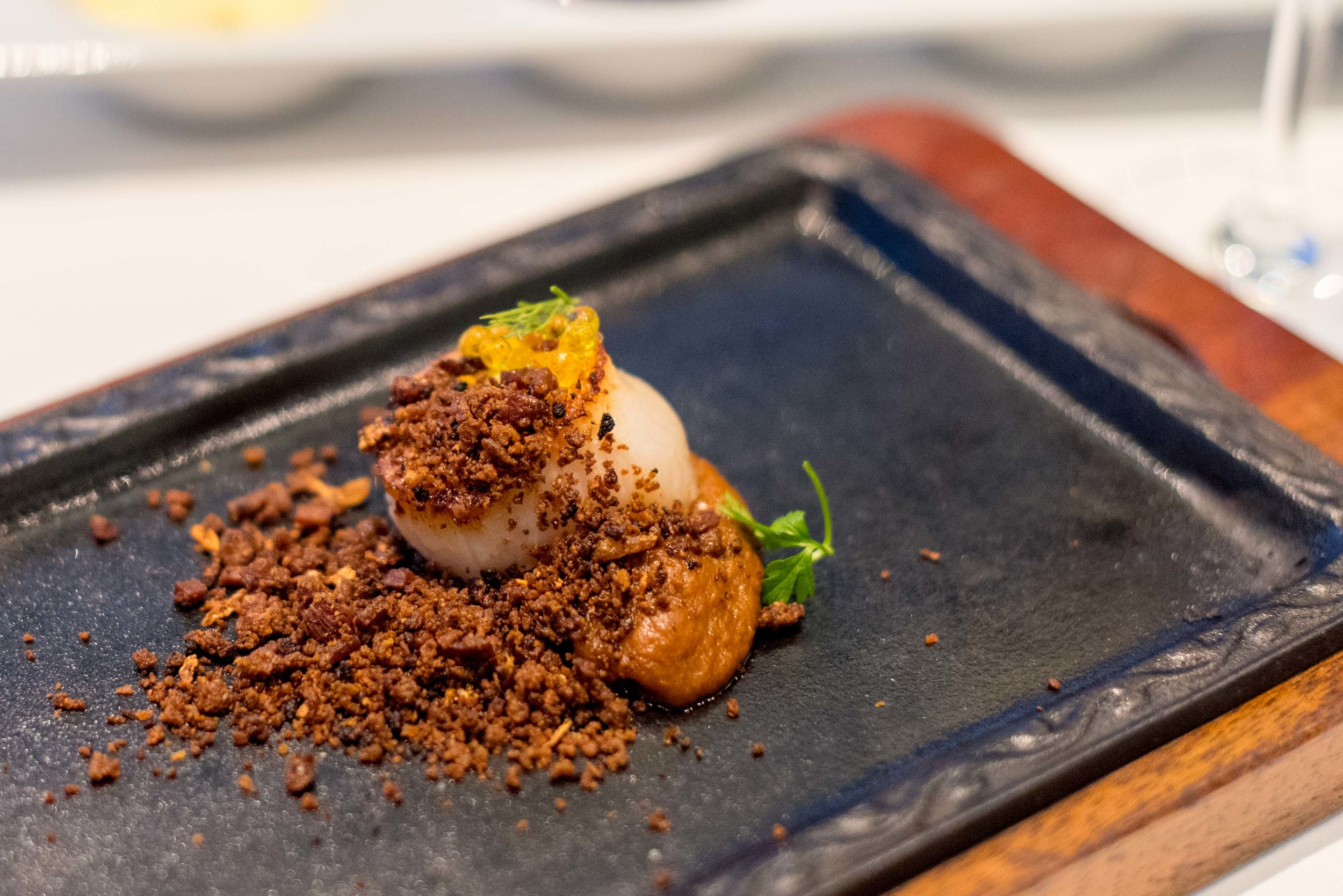 "Pan-seared Scallop, ""Sofrito"" Purée, Chorizo ""Migas"", Caviar Oil, Dill  Pool Grill - Singapore Marriott Tang Plaza"