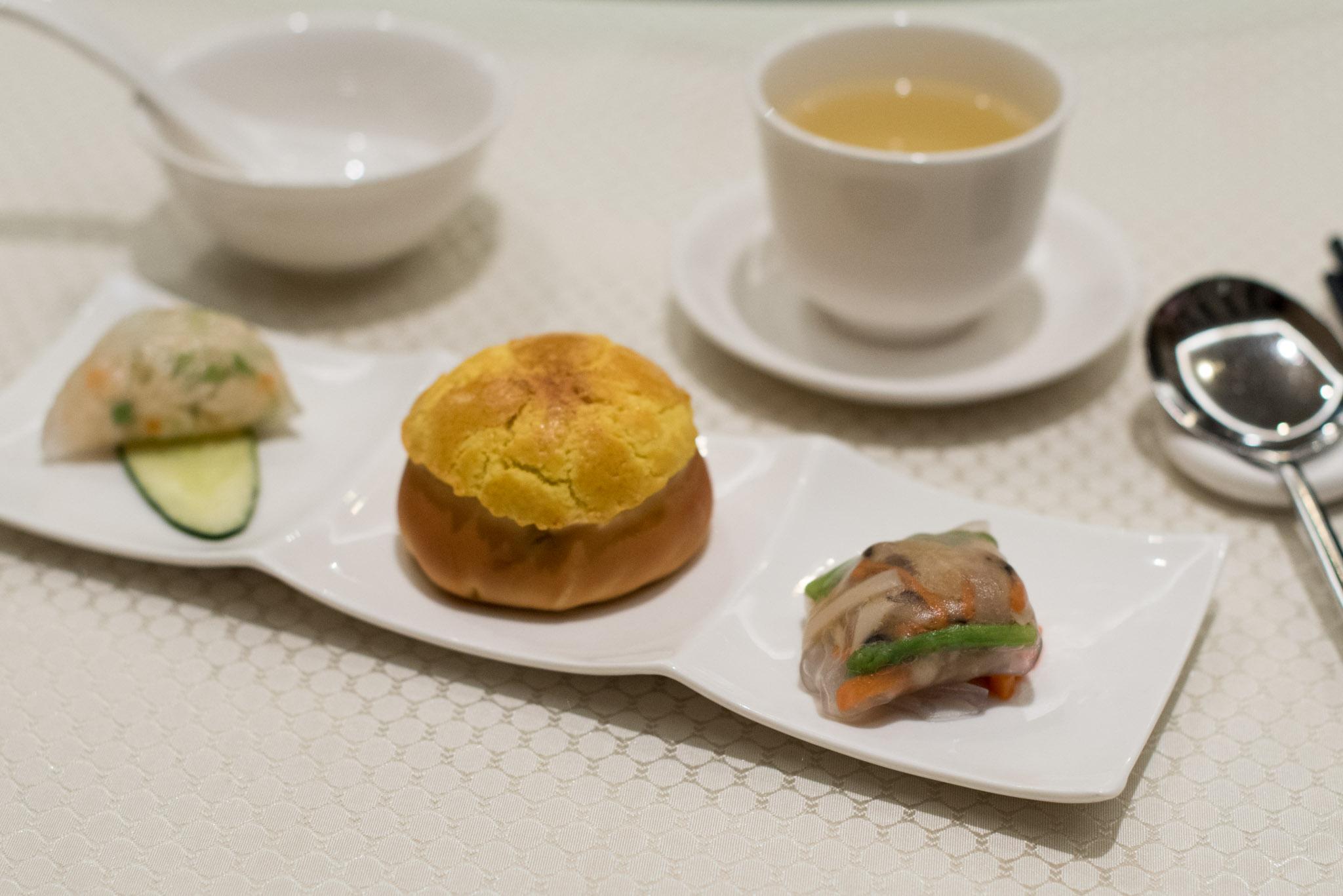 Steamed Bamboo Fungus & Vegetarian Dumpling,Baked Barbeque Pork Bun,Steamed Crab Meat & Egg White Dumpling  Wah Lok - Carlton Hotel Singapore