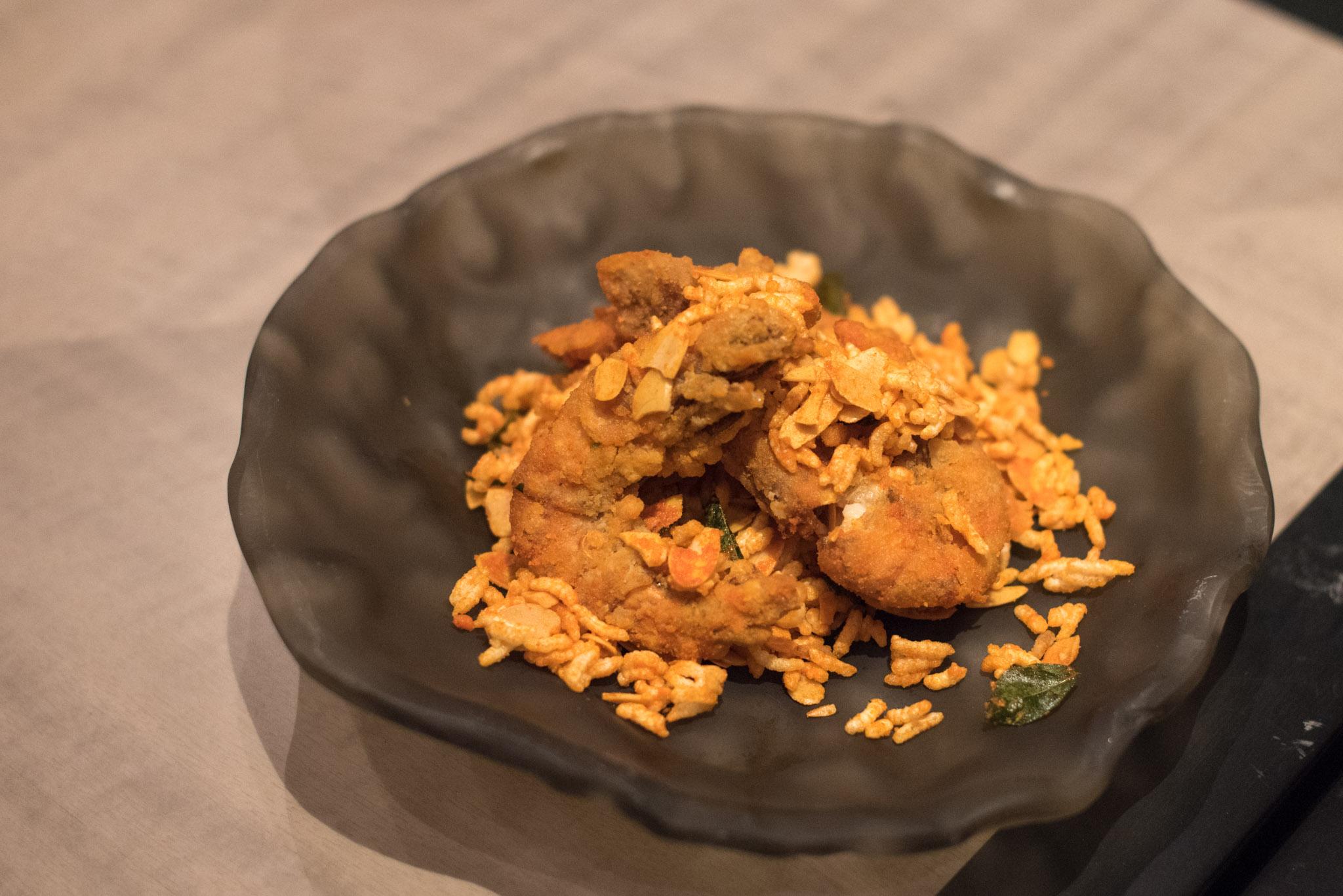 Soft-shell Prawns with Sliced Almond and Crispy Rice (S$15++)  Jiang-Nan Chun - Four Seasons Hotel Singapore
