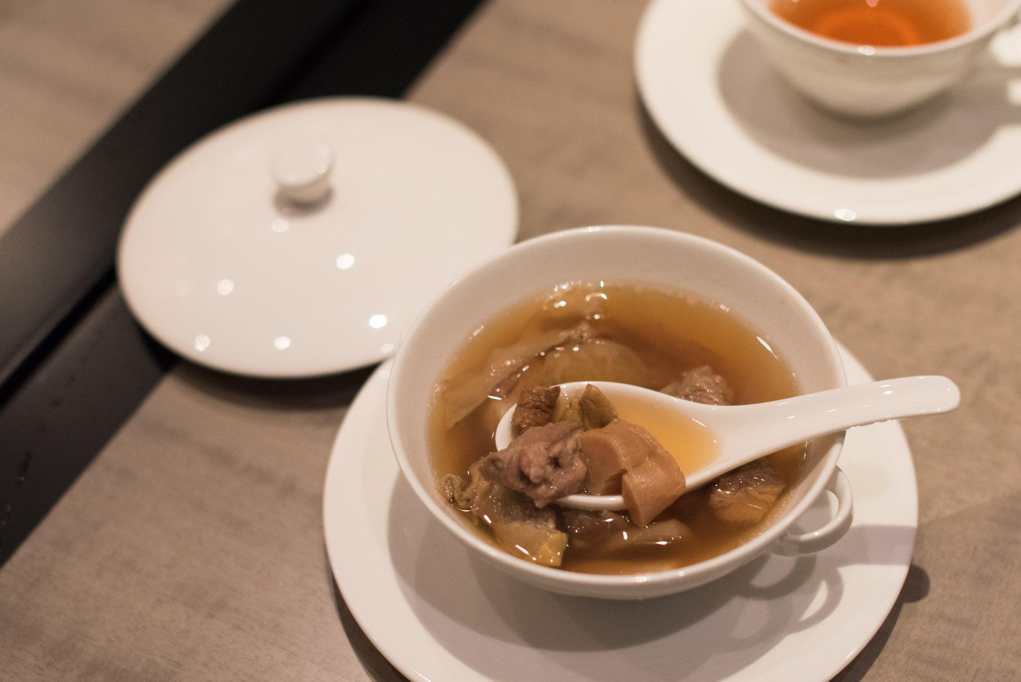 Sea Whelk, Maca, Dried Scallops and Pork Ribs (S$38++) Jiang-Nan Chun - Four Seasons Hotel Singapore