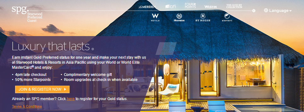 Get SPG Gold with World MasterCard