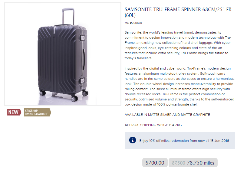 Redeem for Samsonite Luggage with KrisFlyer Miles | Photo Credit: Singapore Airlines