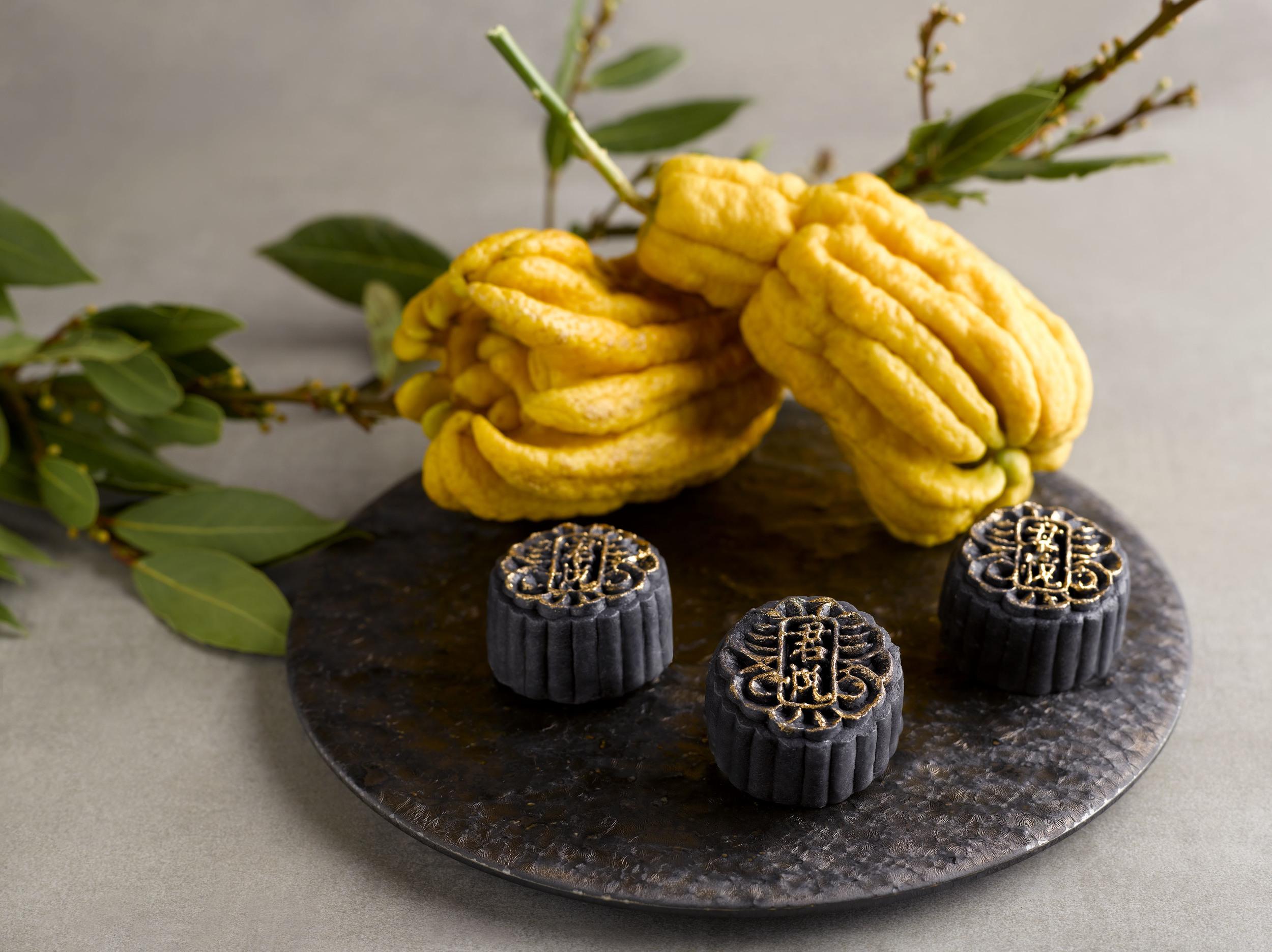 Black Sesame, Buddha's Hand Truffle Snowskin Mooncake | Photo Credit: Grand Hyatt Singapore