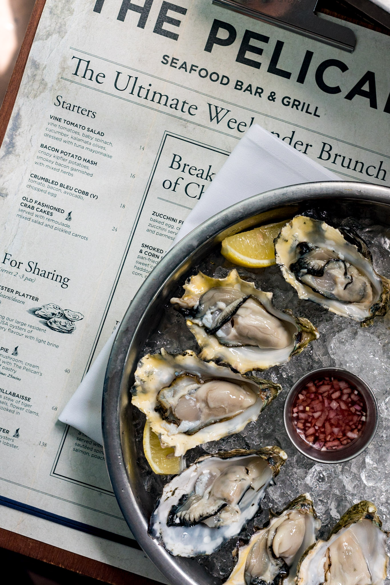 Oyster Platter (S$30++ for 6 | S$60++ for 12)  Saturday Brunch - The Pelican Seafood Bar & Grill