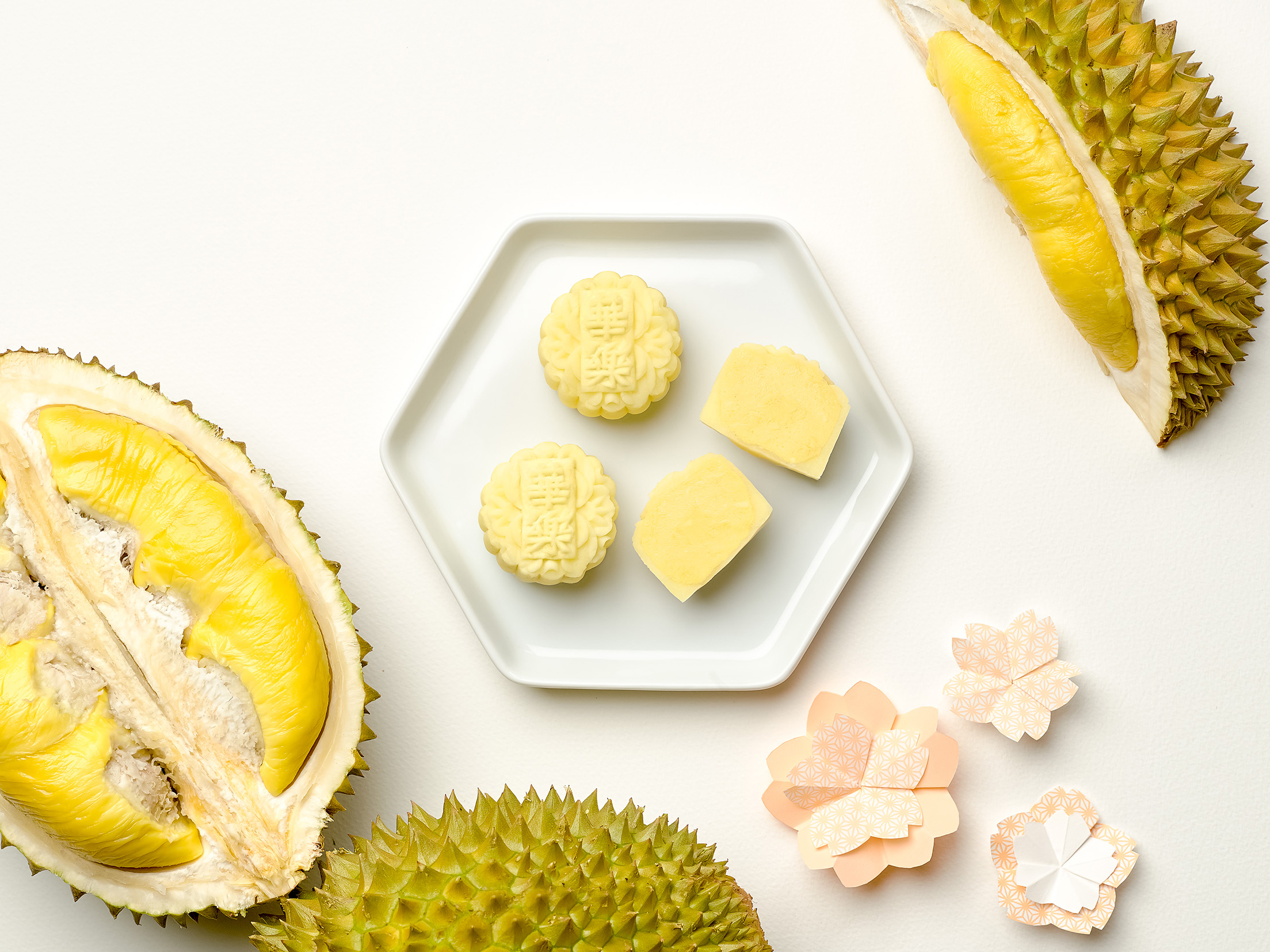 "Mini ""Mao Shan Wang"" Durian Snowskin Mooncakes   (S$68+ for eight) 