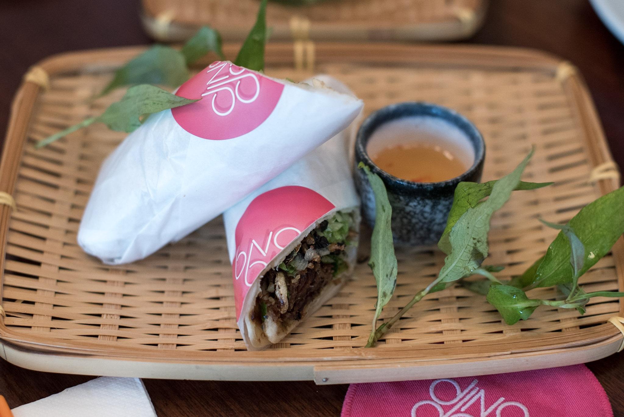 Pancake Wrap with Spiced Waygu Short Rib and Puff Rice