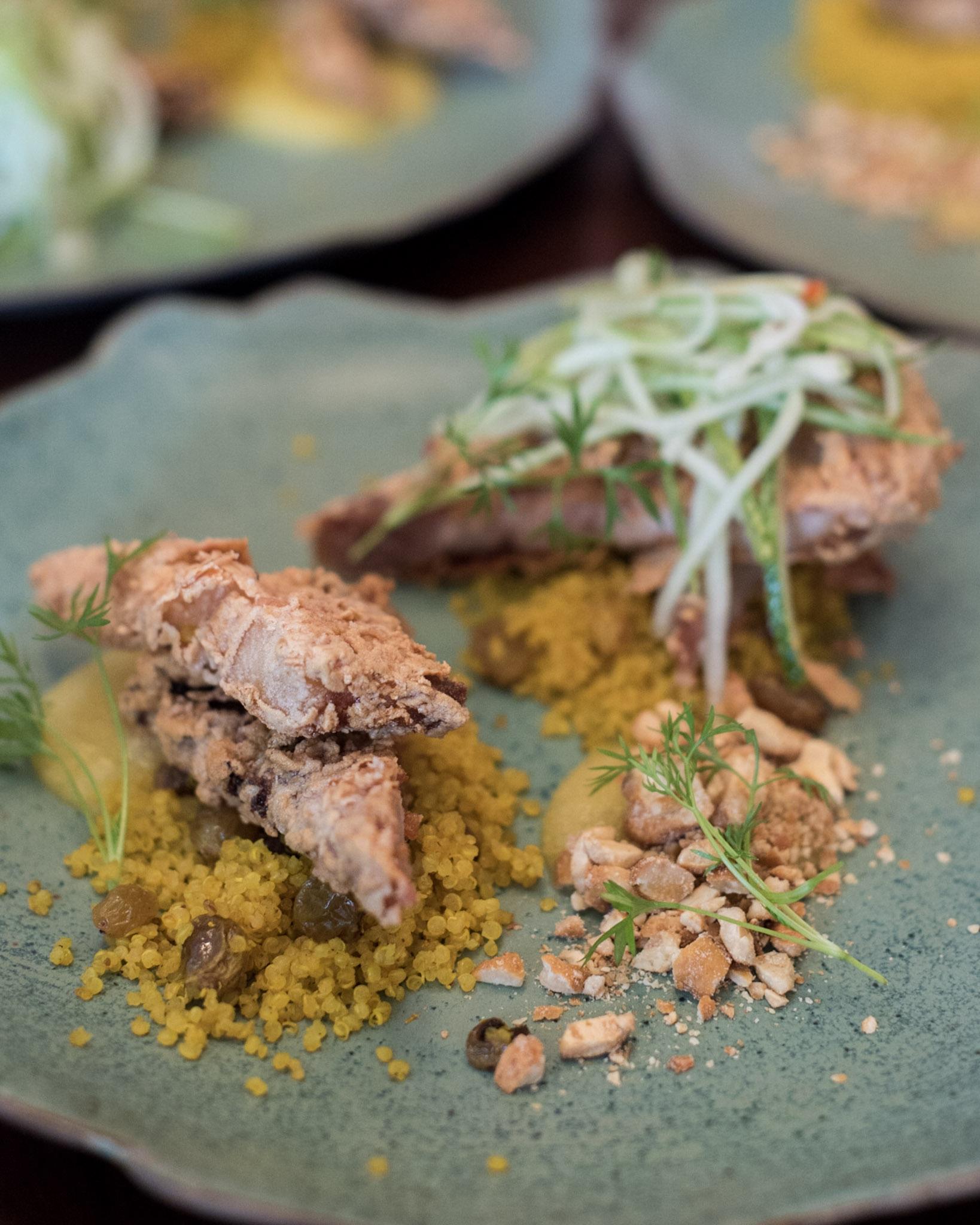 Crispy Pork Belly with Spiced Quinoa, Cashew Nut, Pineapple Puree
