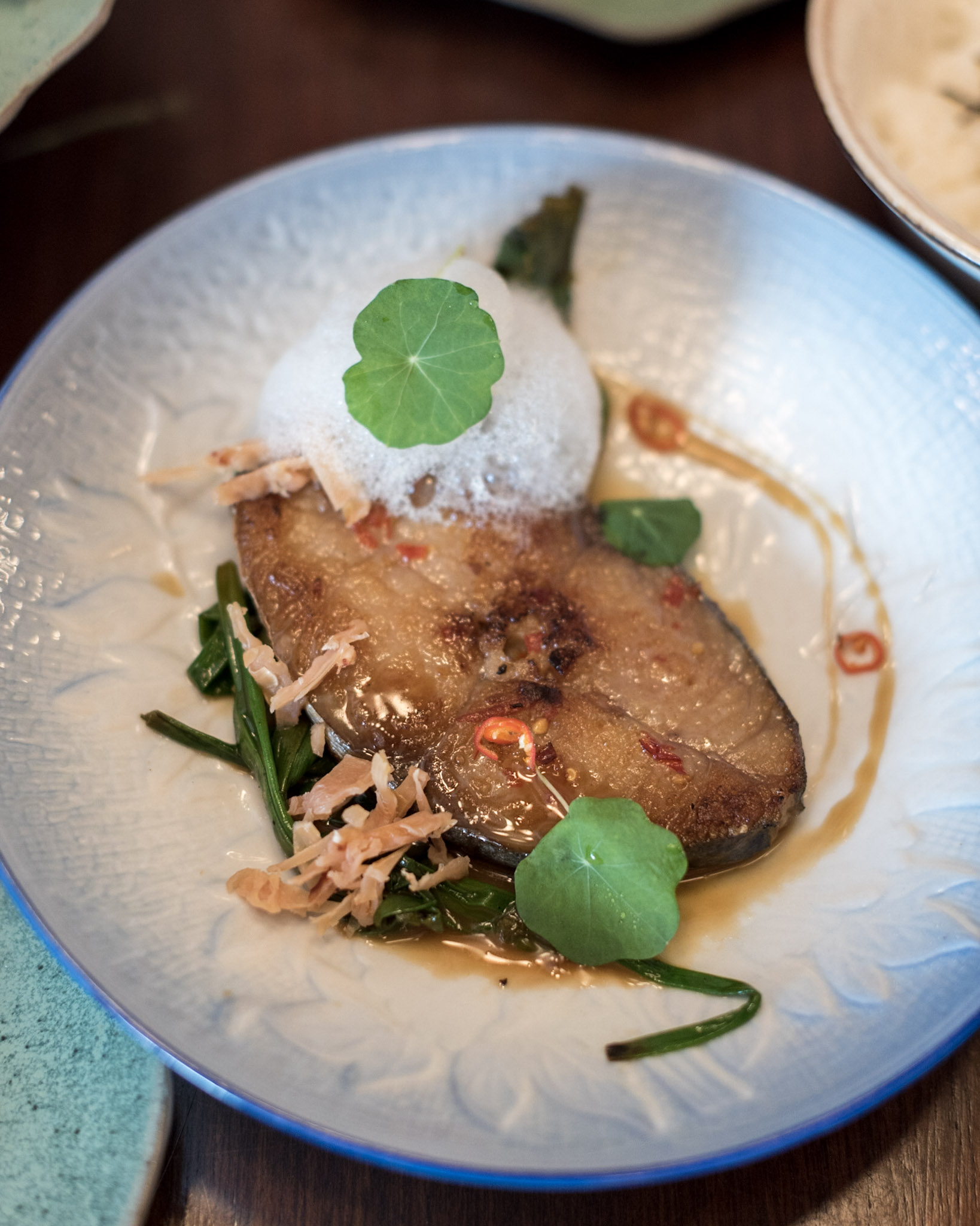 Caramelized Mackerel with Lychee and Spring Onion