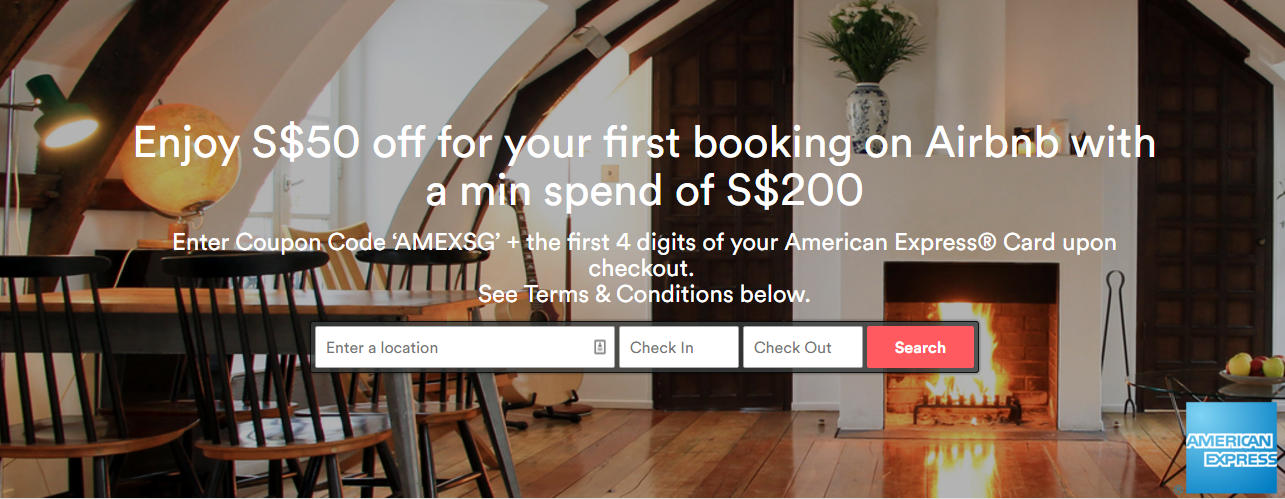 Get S$50 Discount on Airbnb with American Express   Photo Credit: Airbnb