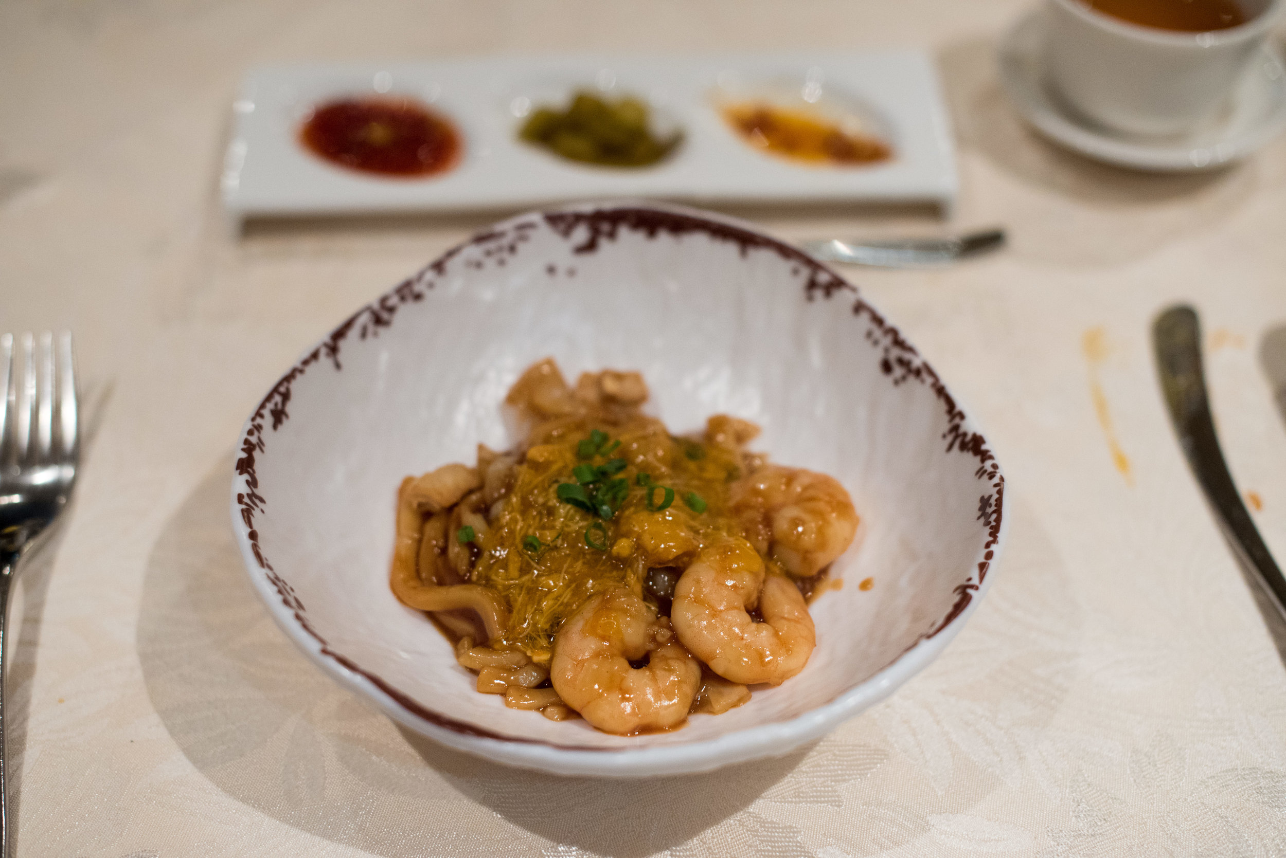 Stewed Udon Noodles with Fresh Prawns, Hairy Crab Meat and Roe (蟹粉鮮蝦仁福建烏冬麵)   Hai Tien Lo - Pan Pacific Singapore