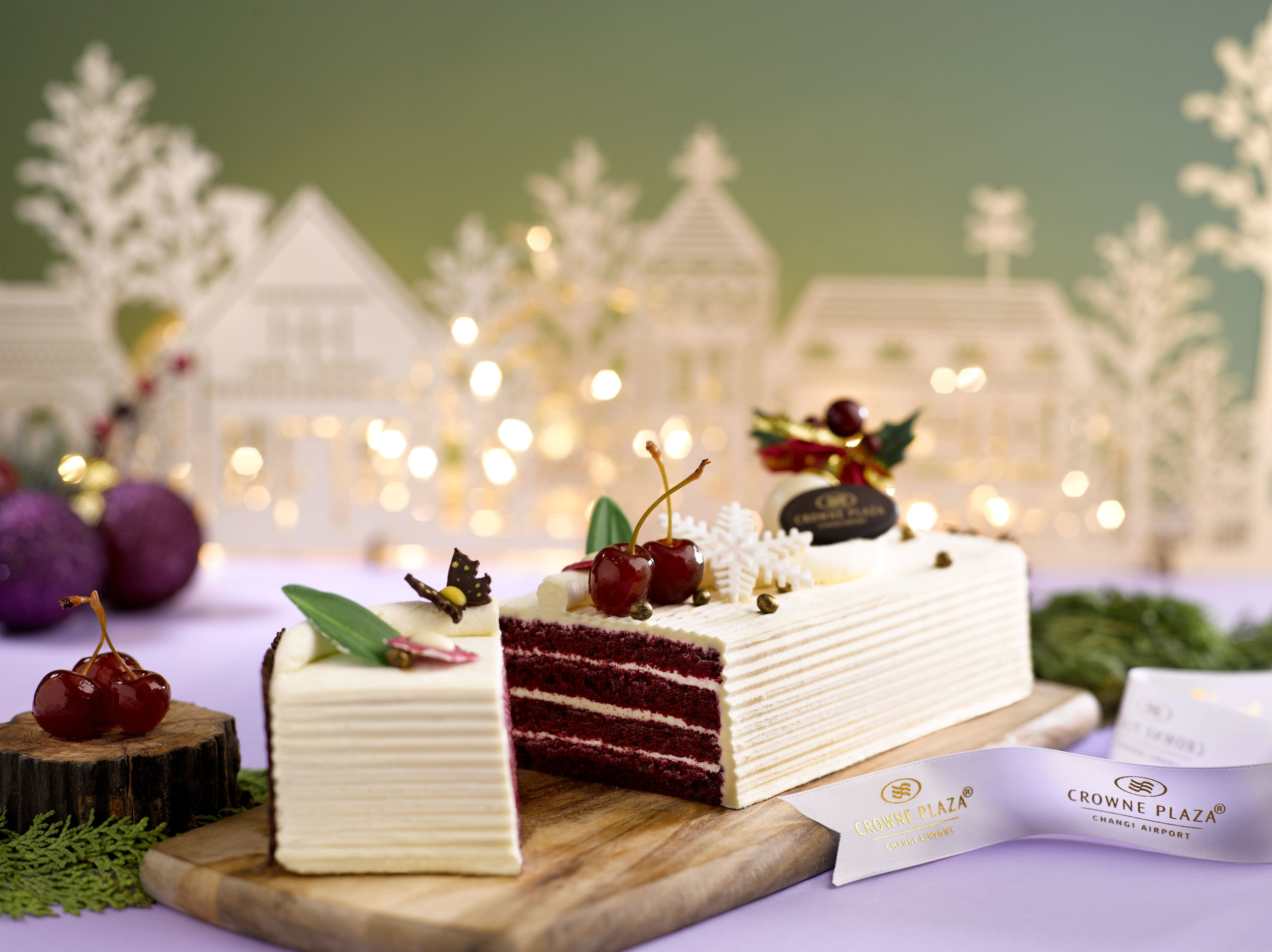 Red Velvet Yule Log with Wild Morello Cherries in Kirsch   Photo Credit: Crowne Plaza Changi Airport