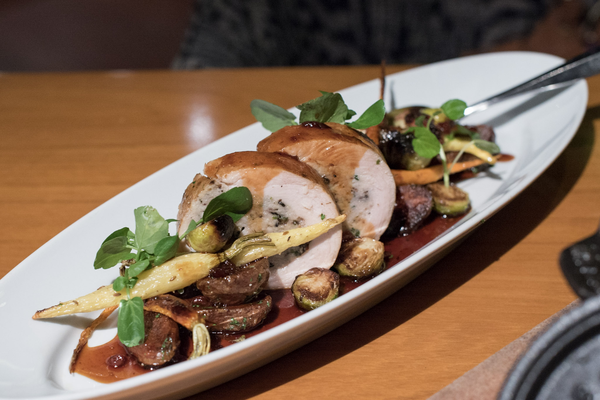 Slow-roasted Turkey Breast Roulade, Brussels Sprouts, Organic Carrots, Potatoes (S$34++)  mezza9 - Grand Hyatt Singapore