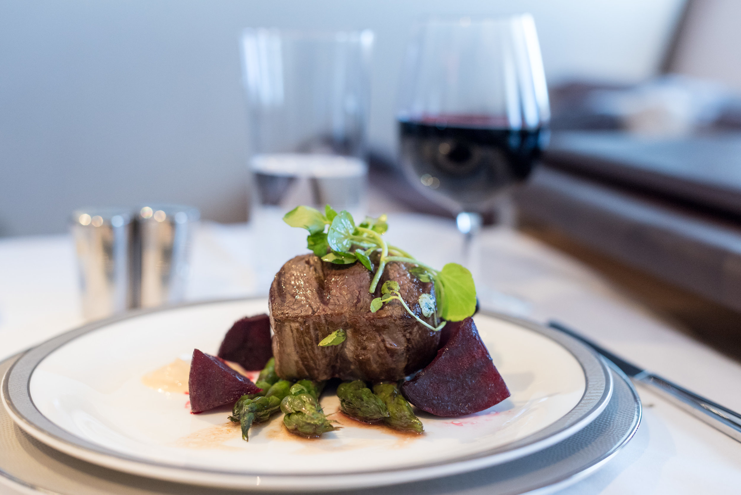 Seared Beef Fillet with Herbs - Lunch Service  Singapore Airlines Suites A380-800 - AKL to SIN