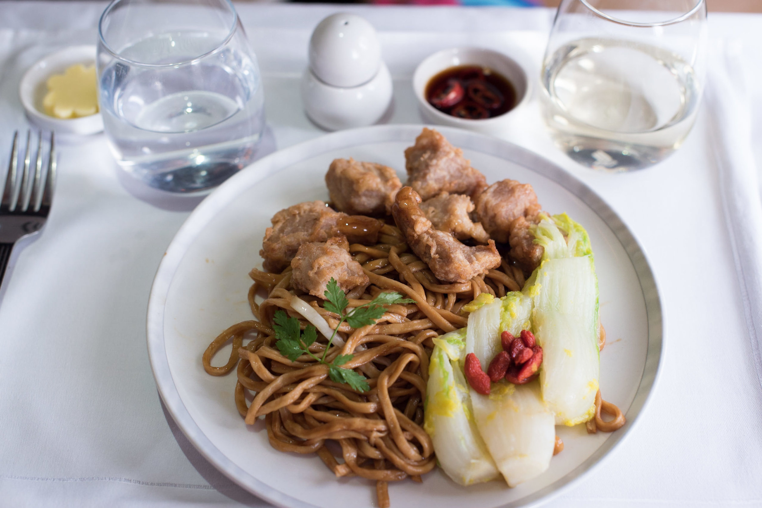 Iberico Pork with Shanxi Aged Vinegar and Enoki Mushrooms Ee Fu Noodles - Lunch Service Singapore Airlines Business A380-800 - HKG to SIN
