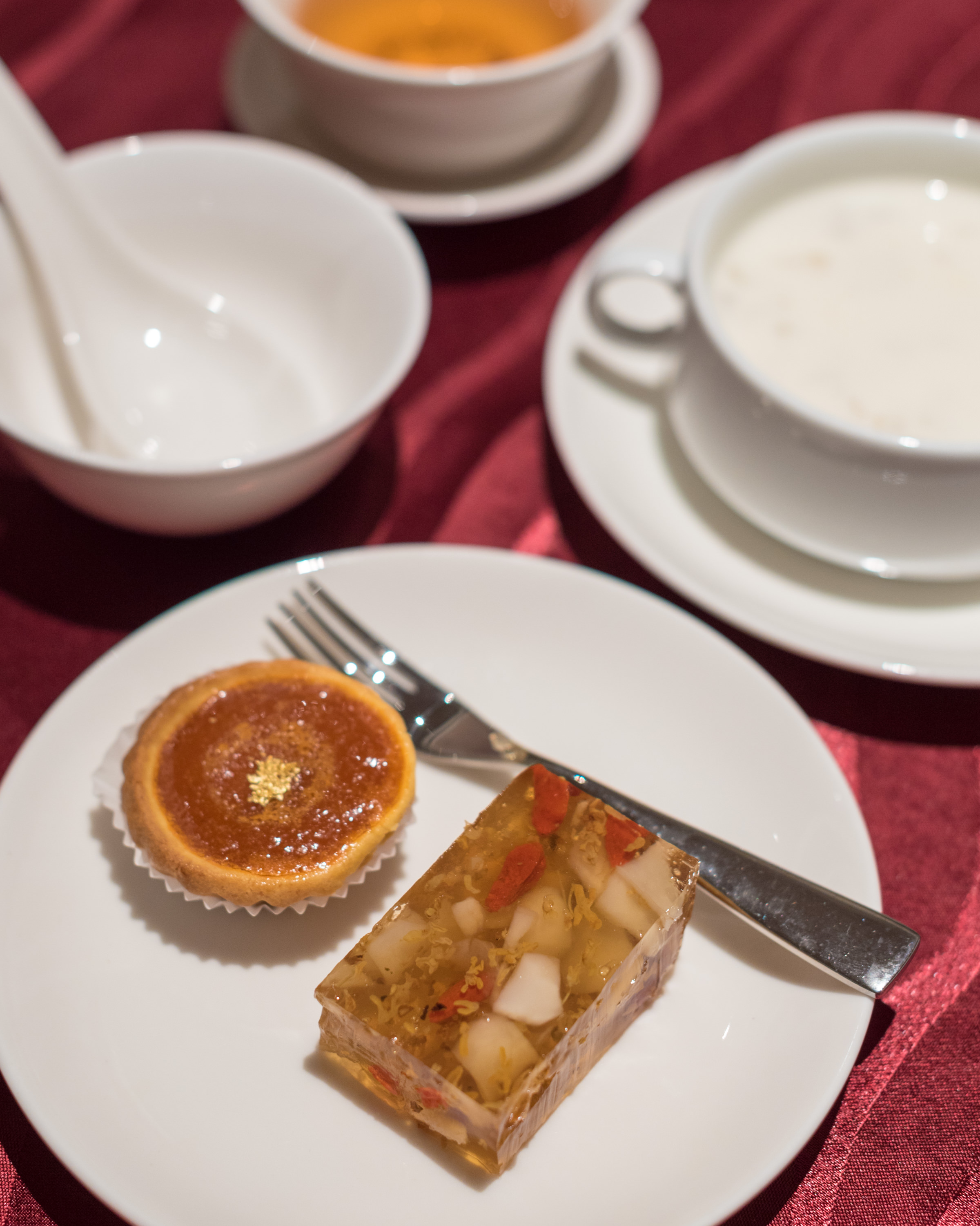 Front to Back: Chilled Osmanthus Jelly, Water Chestnut, Wolfberry | Baked Nian Gao and Yam Tart | Double-boiled Almond Cream with Bird's Nest  Wan Hao - Singapore Marriott Tang Plaza Hotel