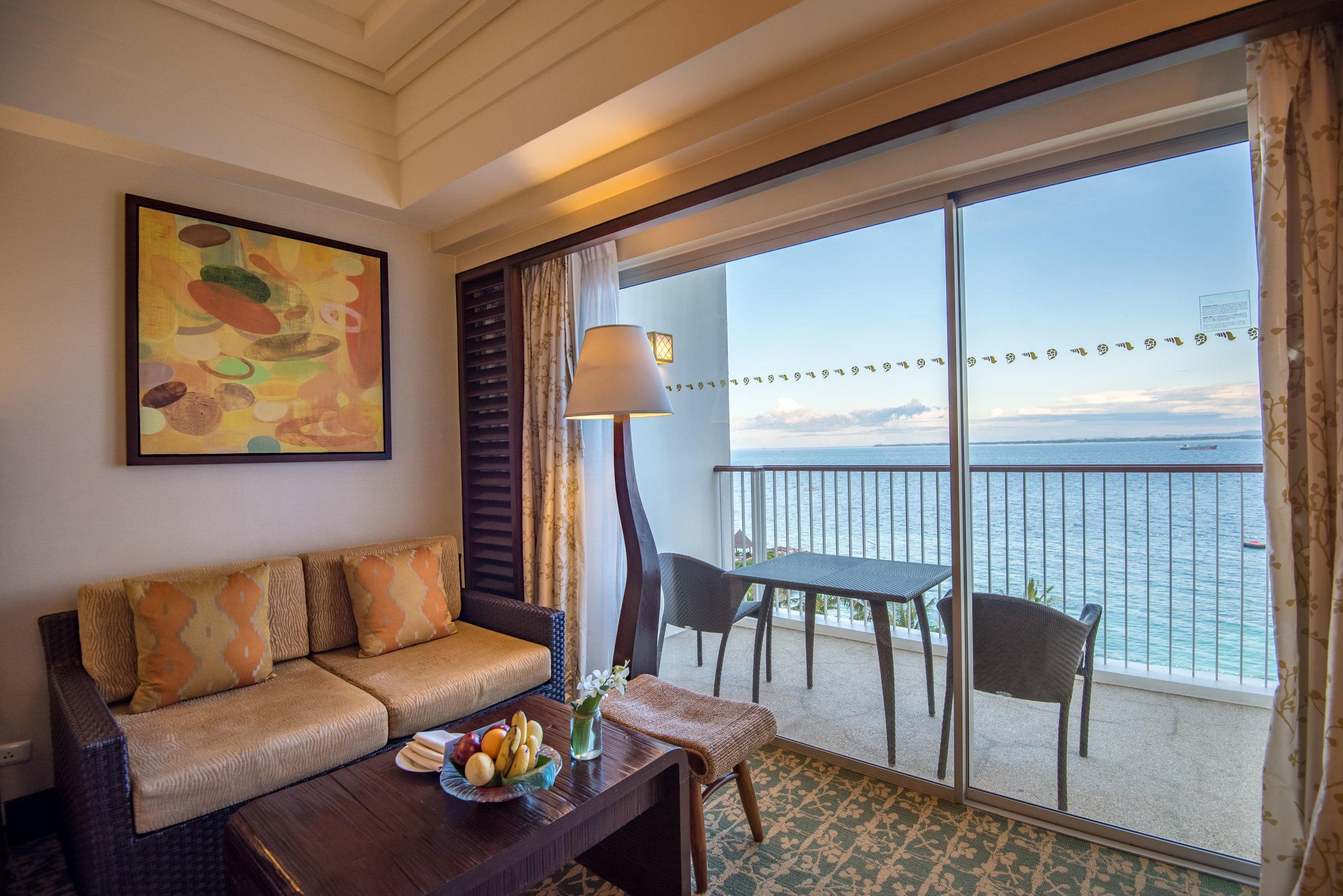 Private Balcony - Ocean Wing Panorama Room  Shangri-La's Mactan Resort and Spa, Cebu