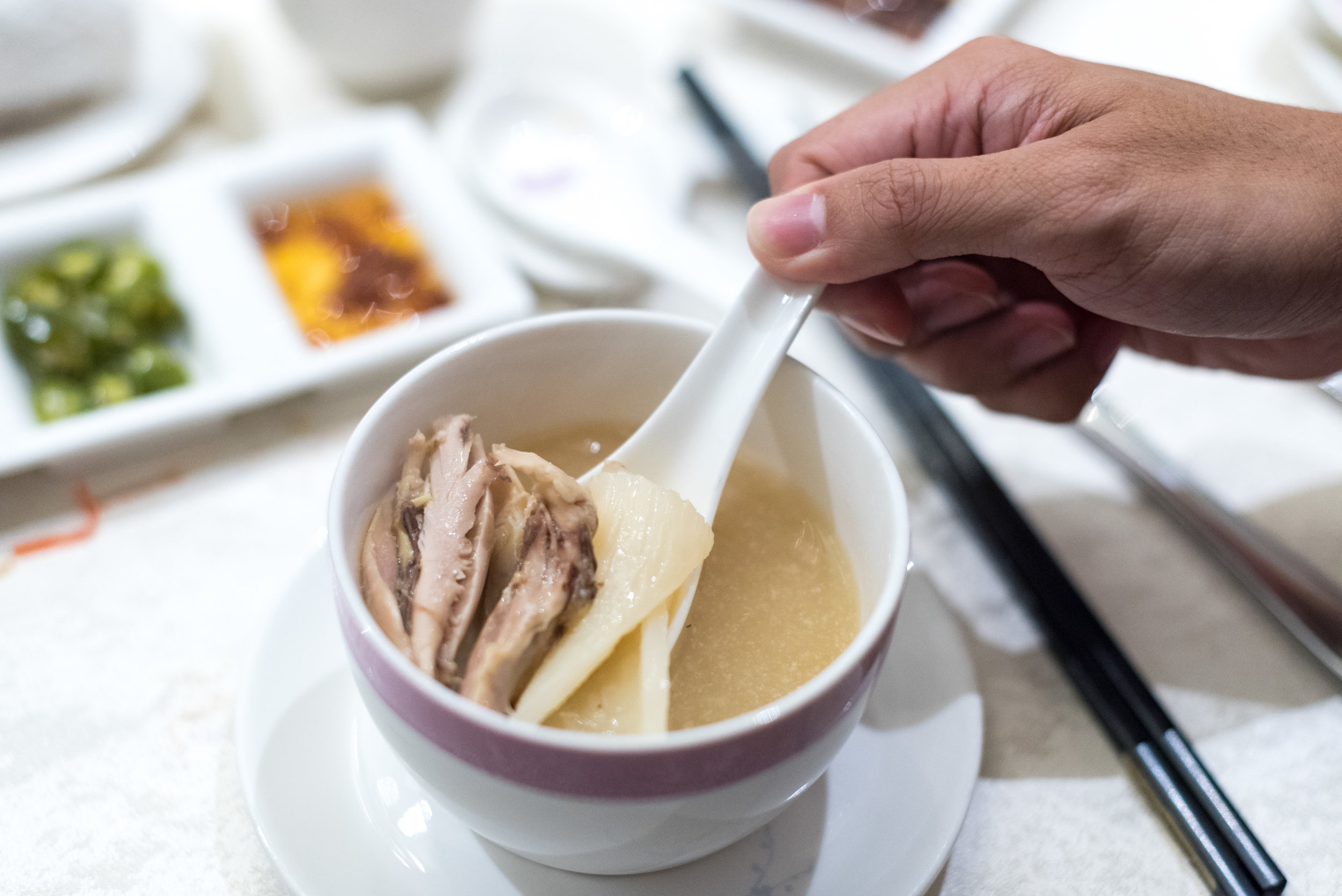 Double-boiled Chicken, Fish Maw, Bamboo Pith and Korean Ginseng in Superior Stock    Man Fu Yuan - InterContinental Singapore