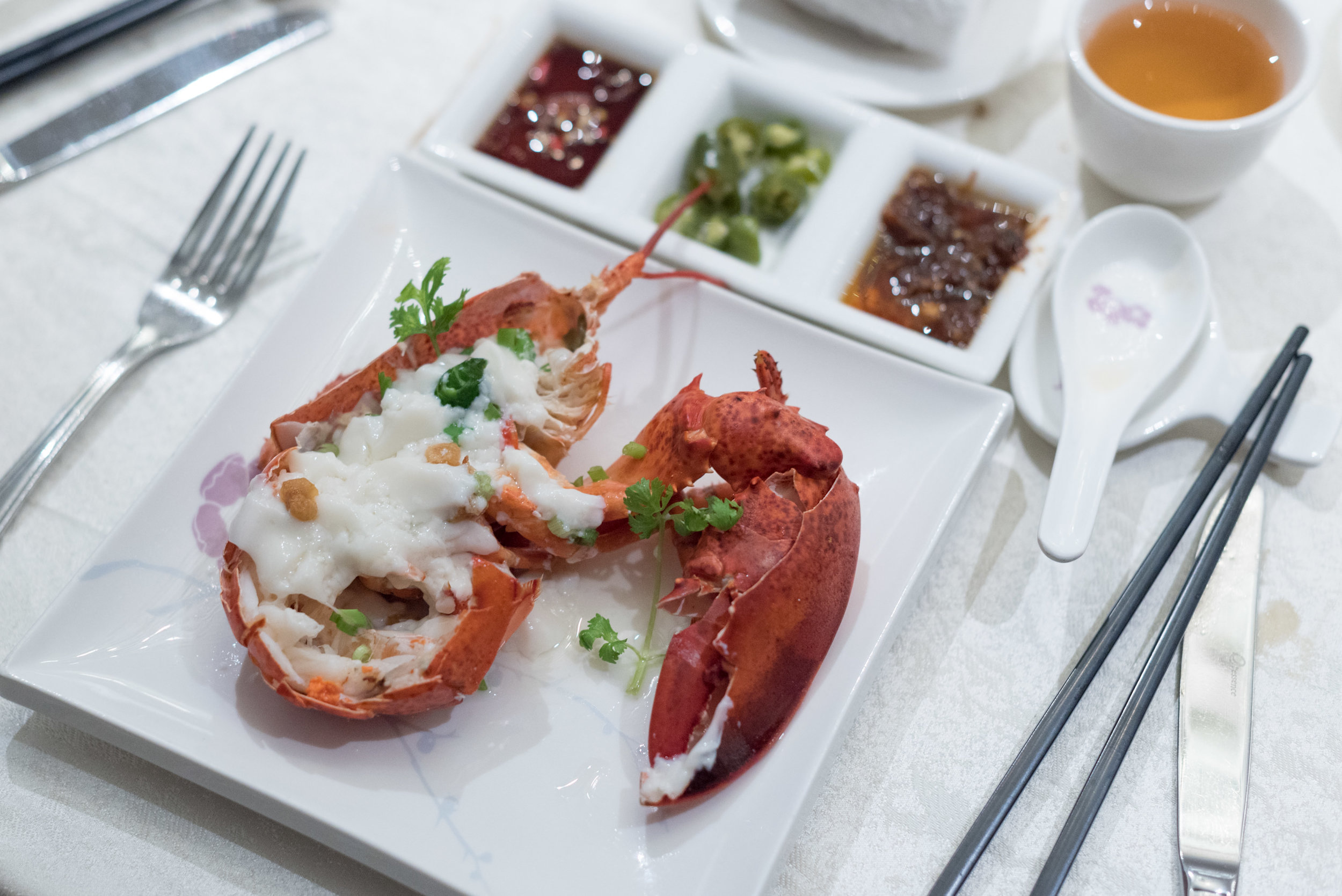 Steamed Boston Lobster with Egg White and Chinese Rice Wine Consomme     Man Fu Yuan - InterContinental Singapore
