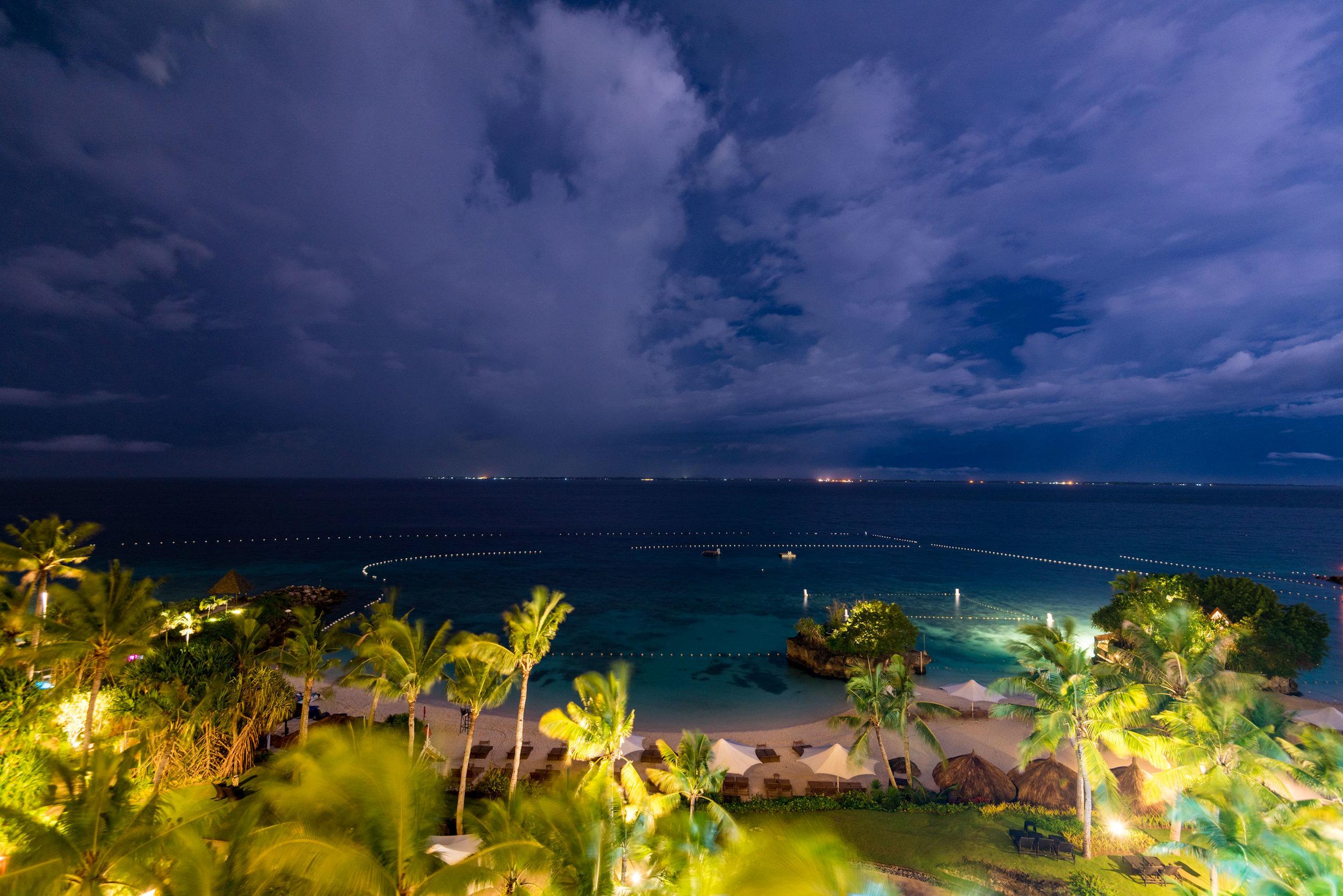Night View from Balcony - Ocean Wing Panorama Room  Shangri-La's Mactan Resort and Spa, Cebu