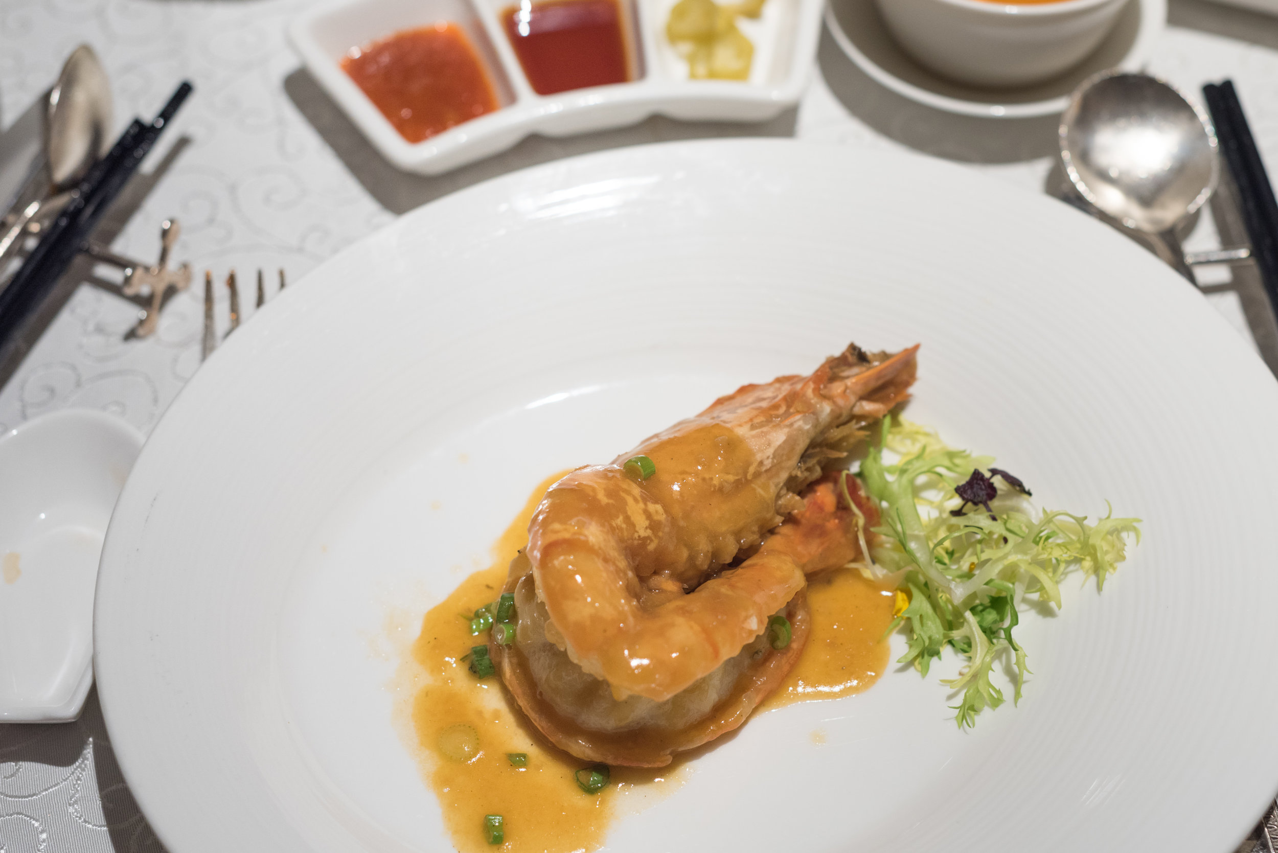 Braised King Prawn with Shrimp Oil  Yan Ting - The St. Regis Singapore
