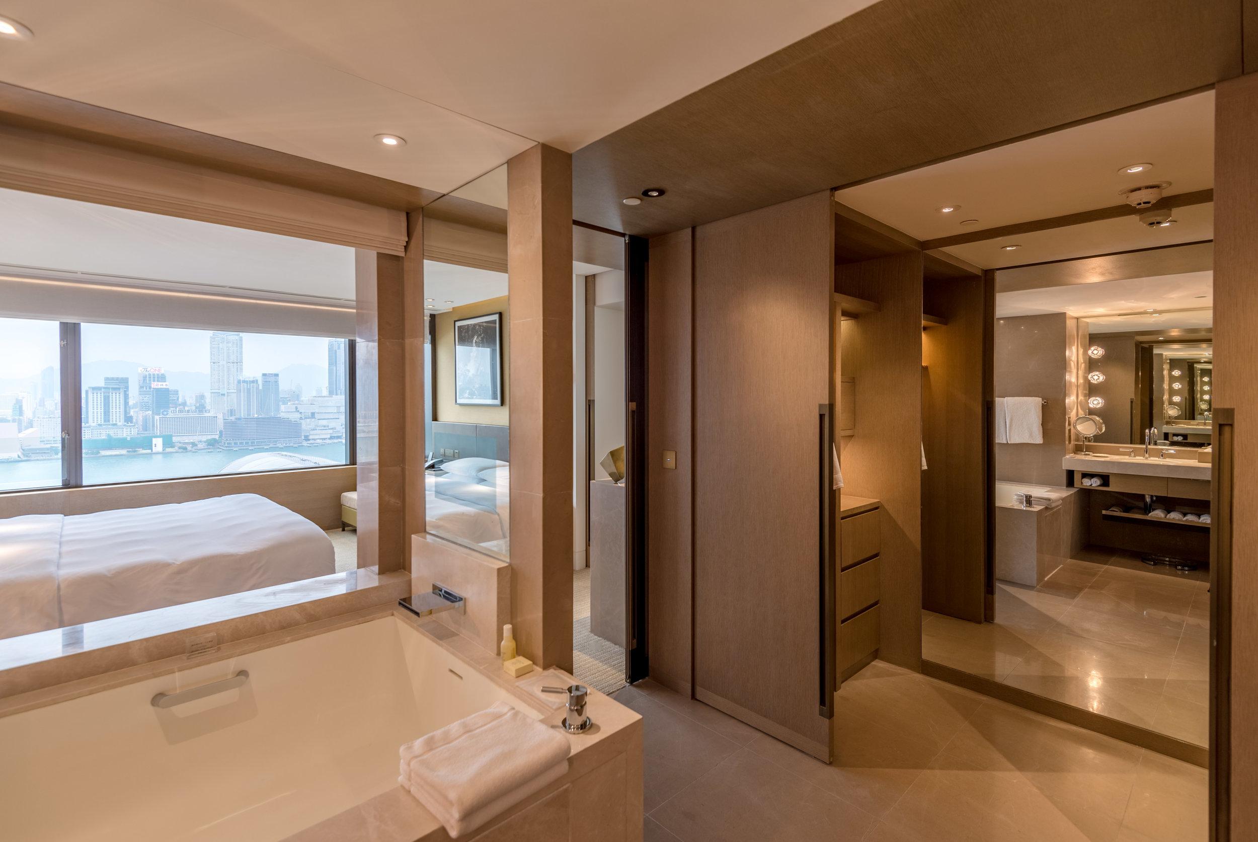 Bathroom with Walk-in Wardrobe  Victoria Harbour Suite - Grand Hyatt Hong Kong