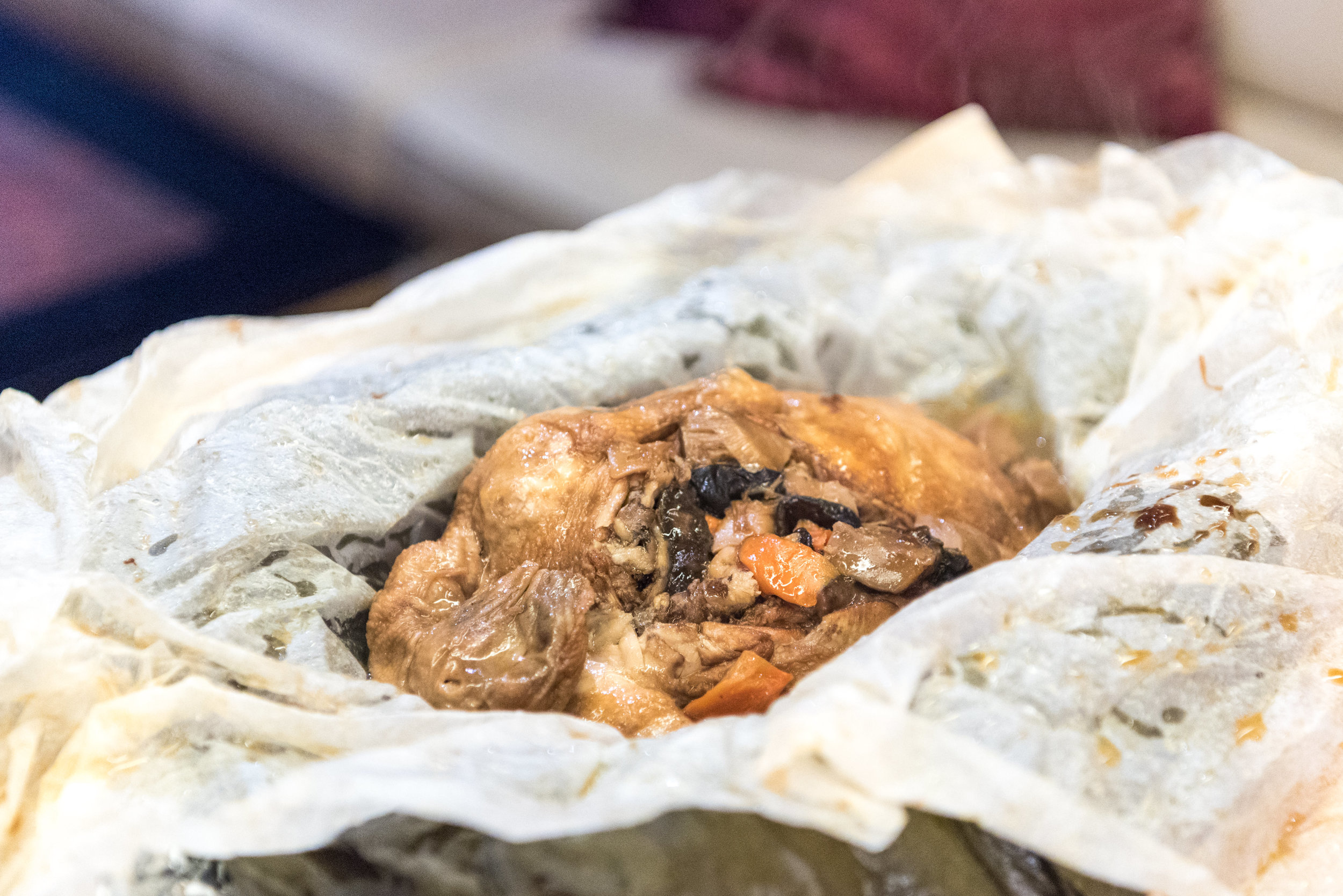 Salt-Crusted Traditional Stewed Chicken with Dried Scallops in Lotus Leaf