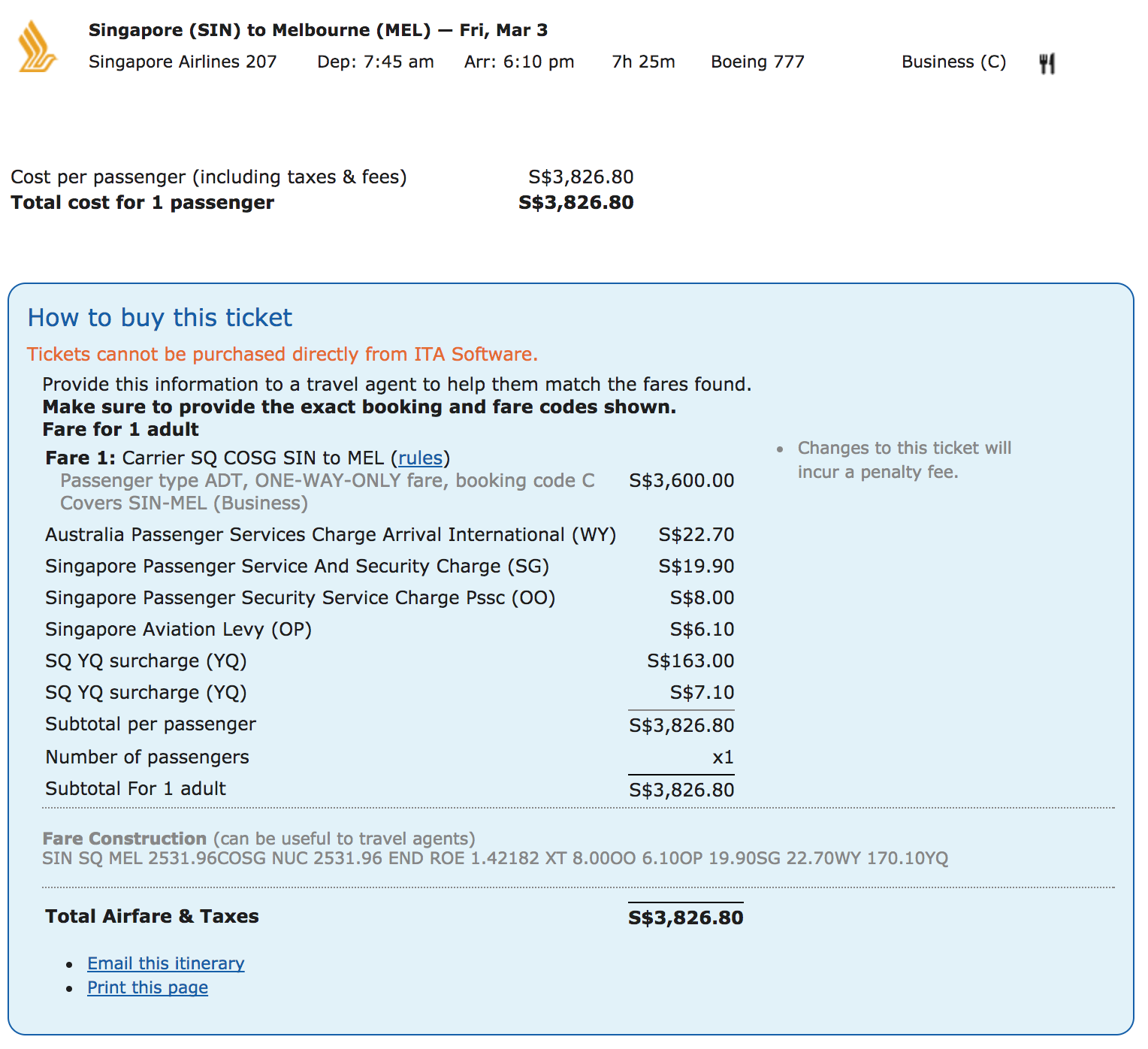 Finding the YQ Tax Component on Singapore Airlines Flights