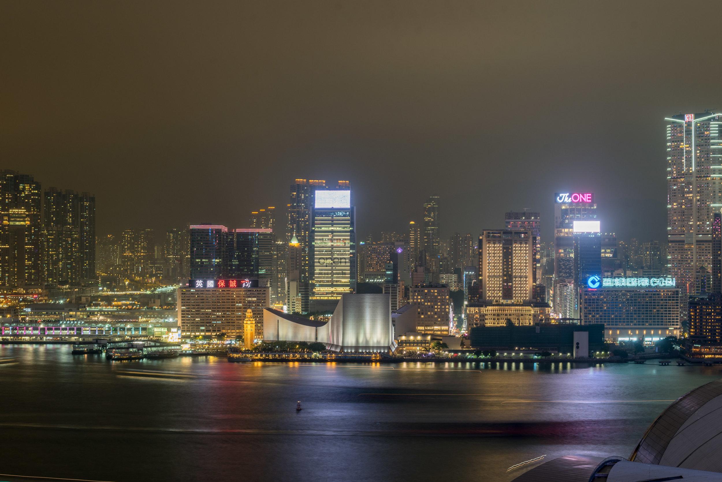 Night View of Victoria Harbour  Victoria Harbour Suite - Grand Hyatt Hong Kong