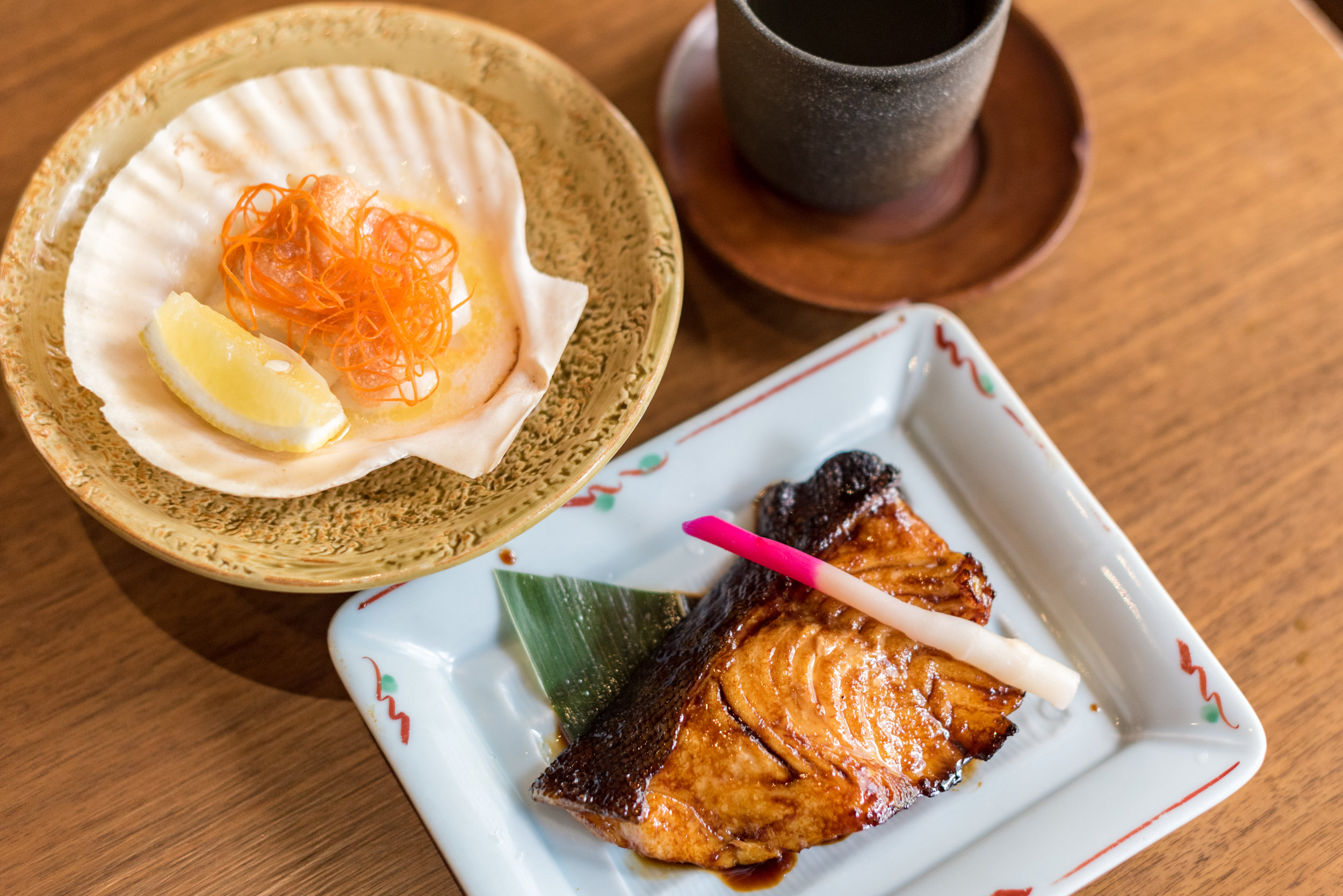Teriyaki Cod and Grilled Scallops with Spicy Cod Roe Sauce - Bubbly Brunch Keyaki - Pan Pacific Singapore