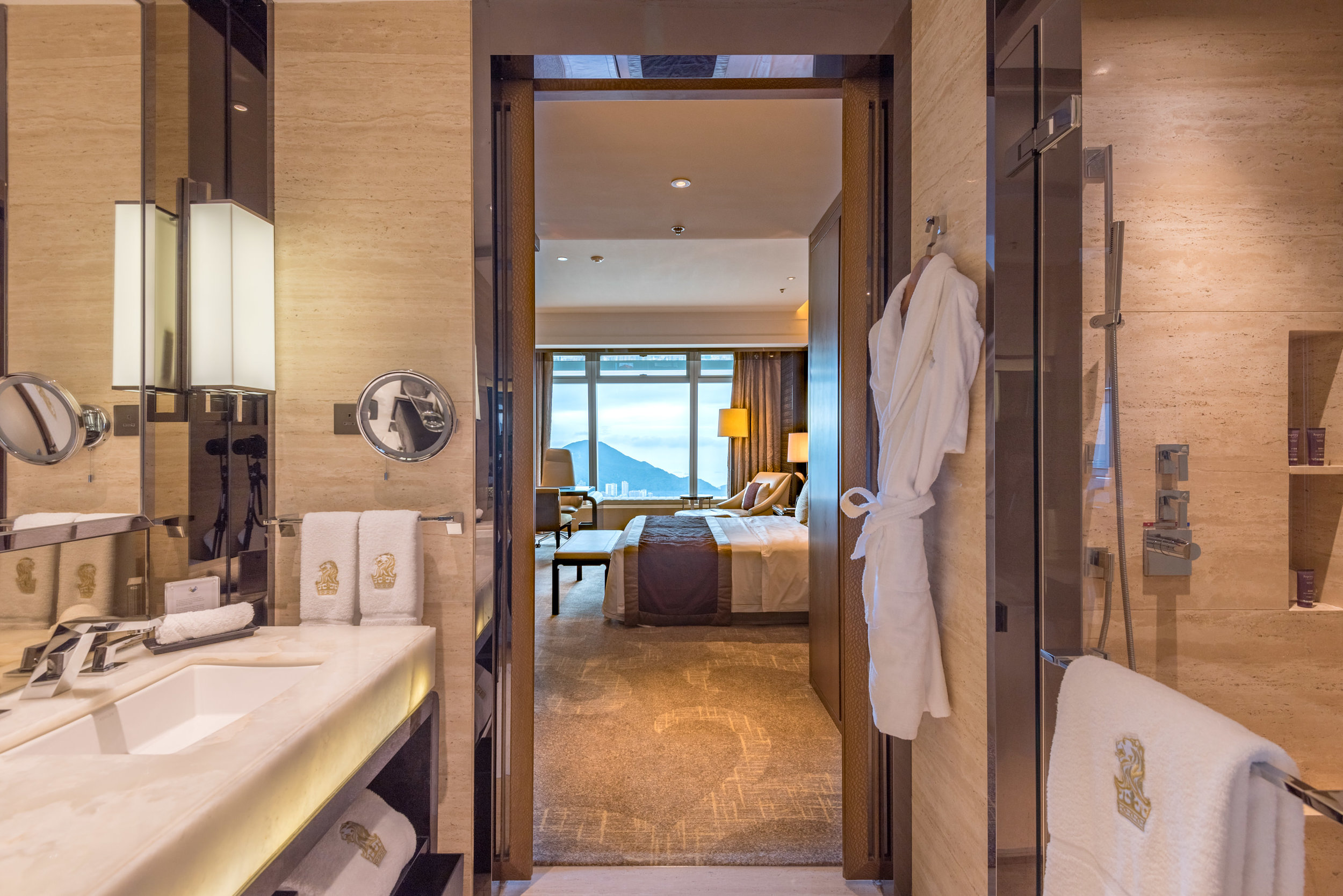 View from Bathtub  Club Deluxe Victoria Harbour Room - The Ritz-Carlton, Hong Kong