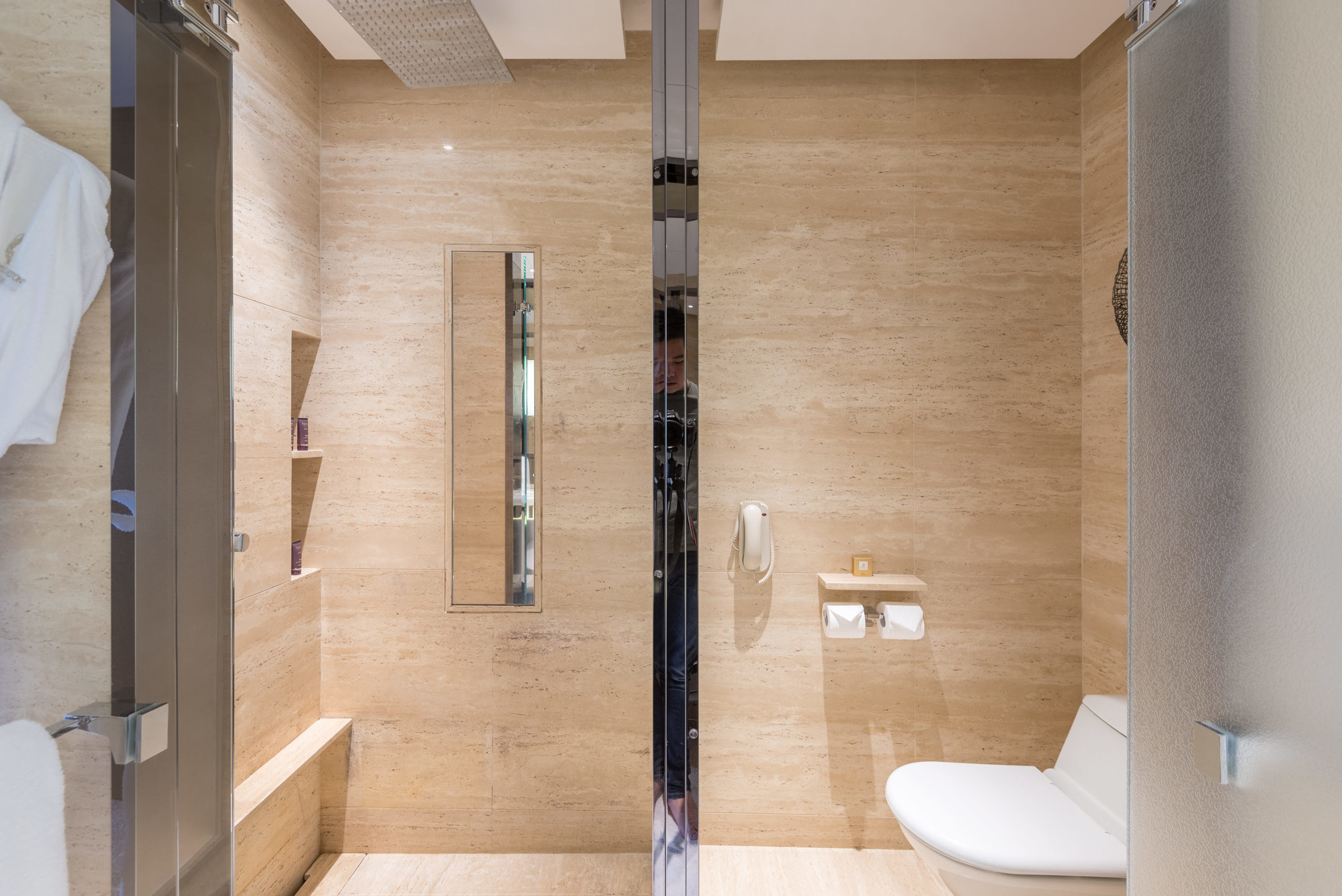 Double Rainshower and Toilet  Club Deluxe Victoria Harbour Room - The Ritz-Carlton, Hong Kong