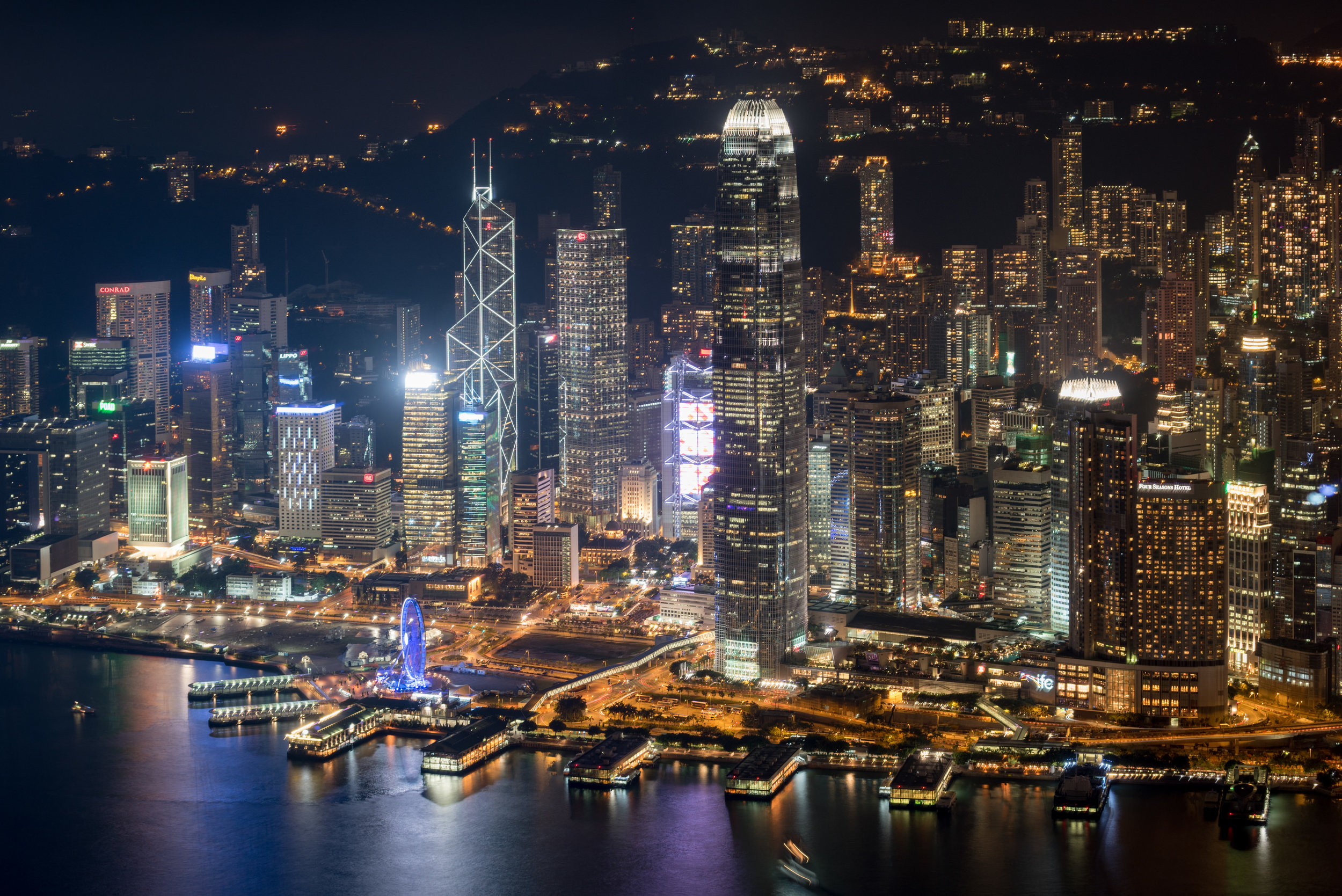 Night View of Victoria Harbour from the Room  Ritz-Carlton Club - The Ritz-Carlton, Hong Kong