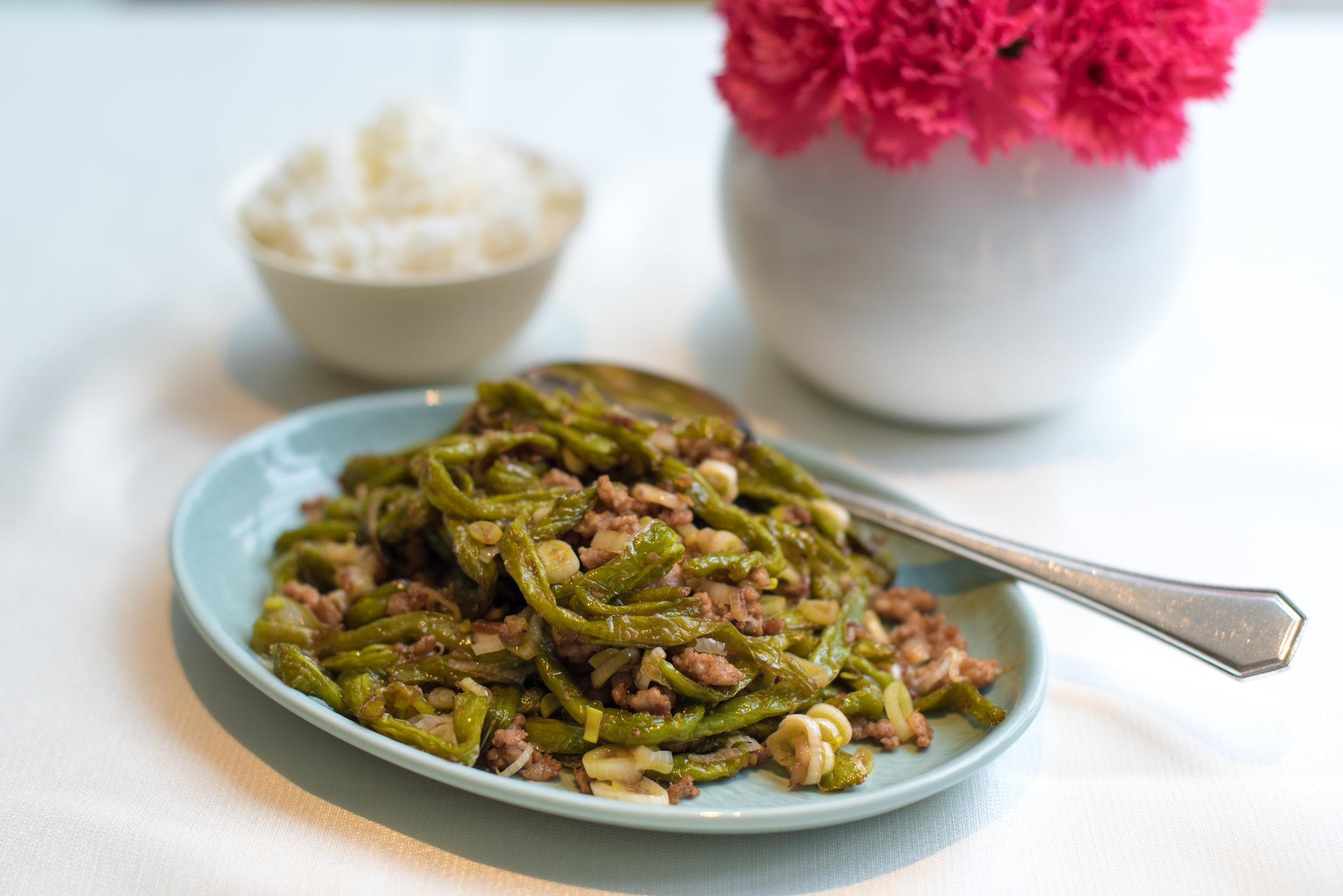 Stir-fired Snap Beans and Minced Pork (NT$420+)  Yun Jin Chinese Restaurant - Grand Hyatt Taipei