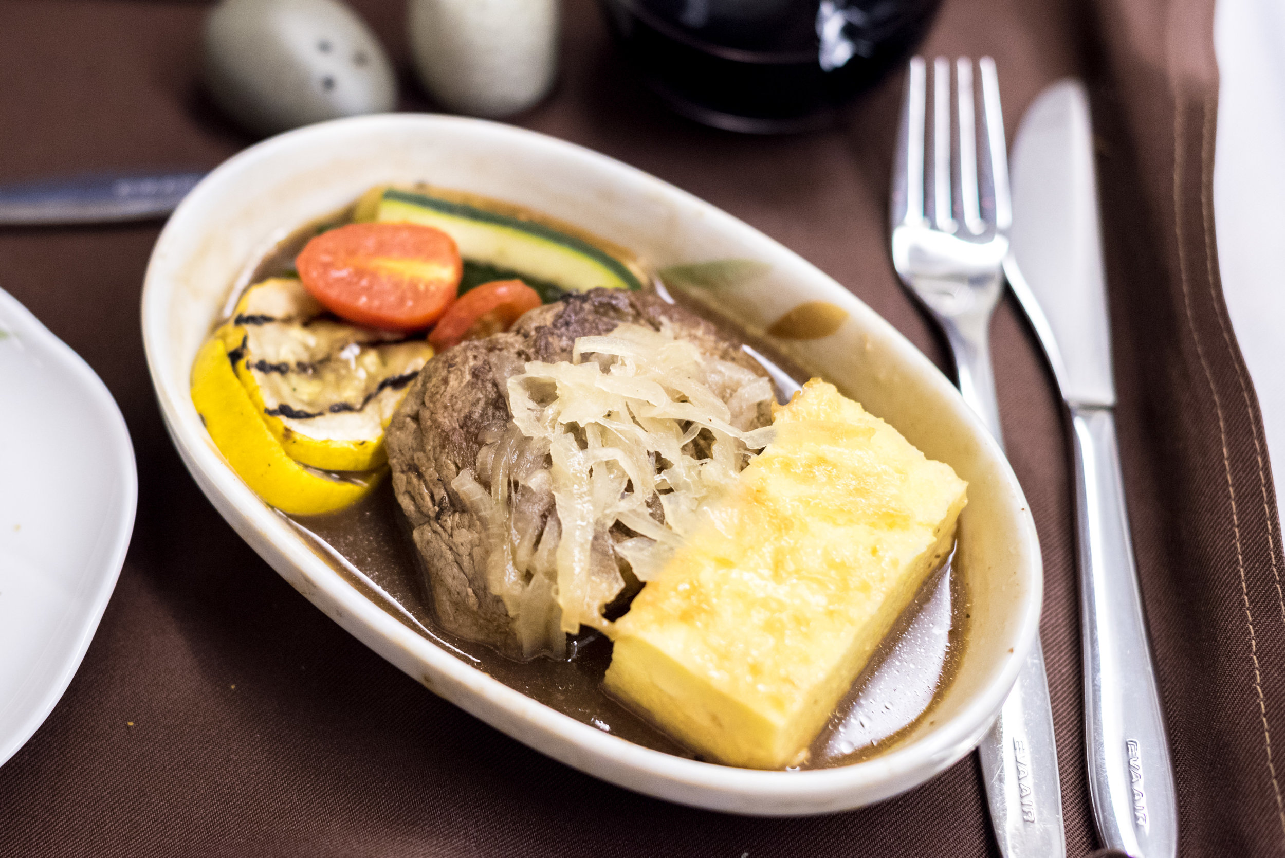 Grilled Beef Tenderloin with Madeira Sauce, Mixed Vegetables and Polenta Cake - Lunch Service  EVA Air Royal Laurel 777-300ER - SIN to TPE (BR226)