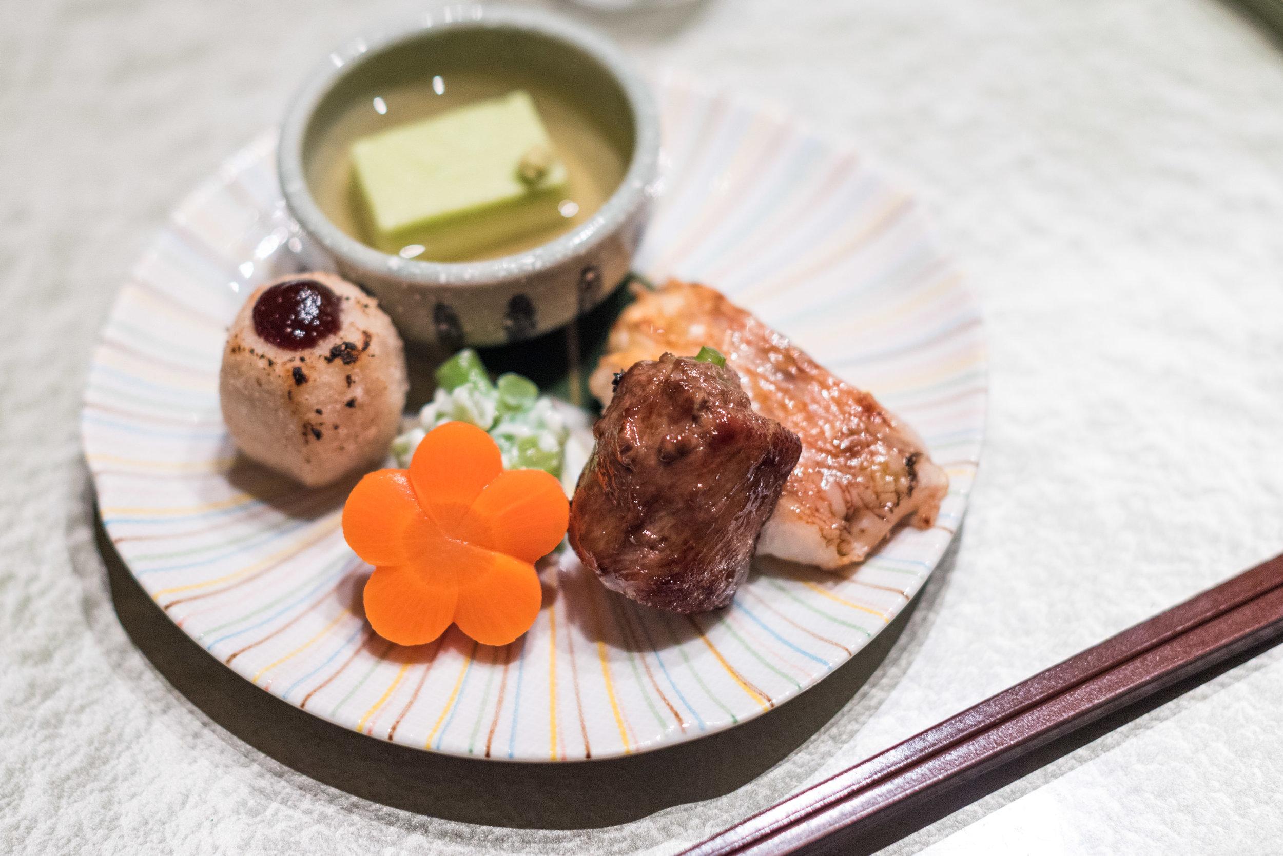 Chef Kudo's Seasonal Inspiration - Grilled Amadai, Poached Asparagus rolled with U.S. Beef, Taro with Miso, Green Beans and Handmade Green Pea Tofu  ibuki by Takagi Kazuo - Shangri-La's Far Eastern Plaza Hotel, Taipei